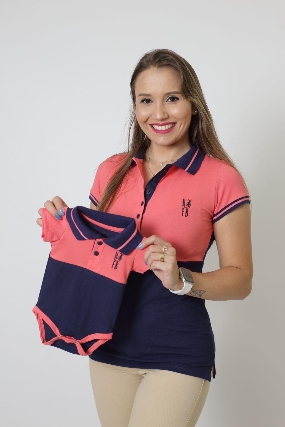 MÃE E FILHOS > Kit 02 peças - Camisa + Body Polo - Goiaba com Marinho Premium