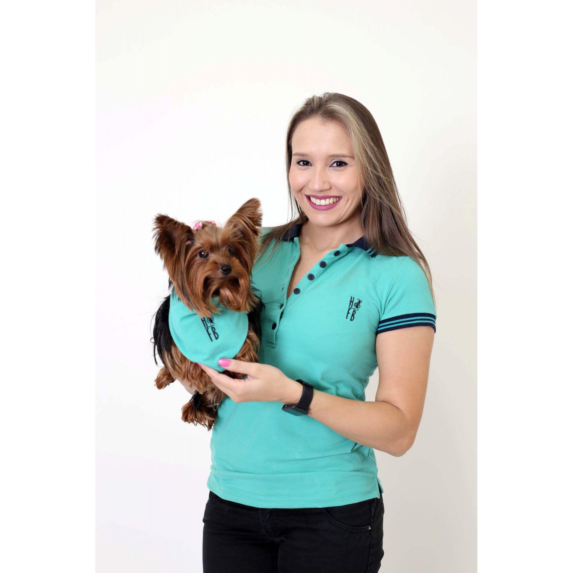 MÃE E PET > Kit 02 Peças - Camisa Polo e Bandana Verde Jade [Coleção Tal Mãe Tal Filho]