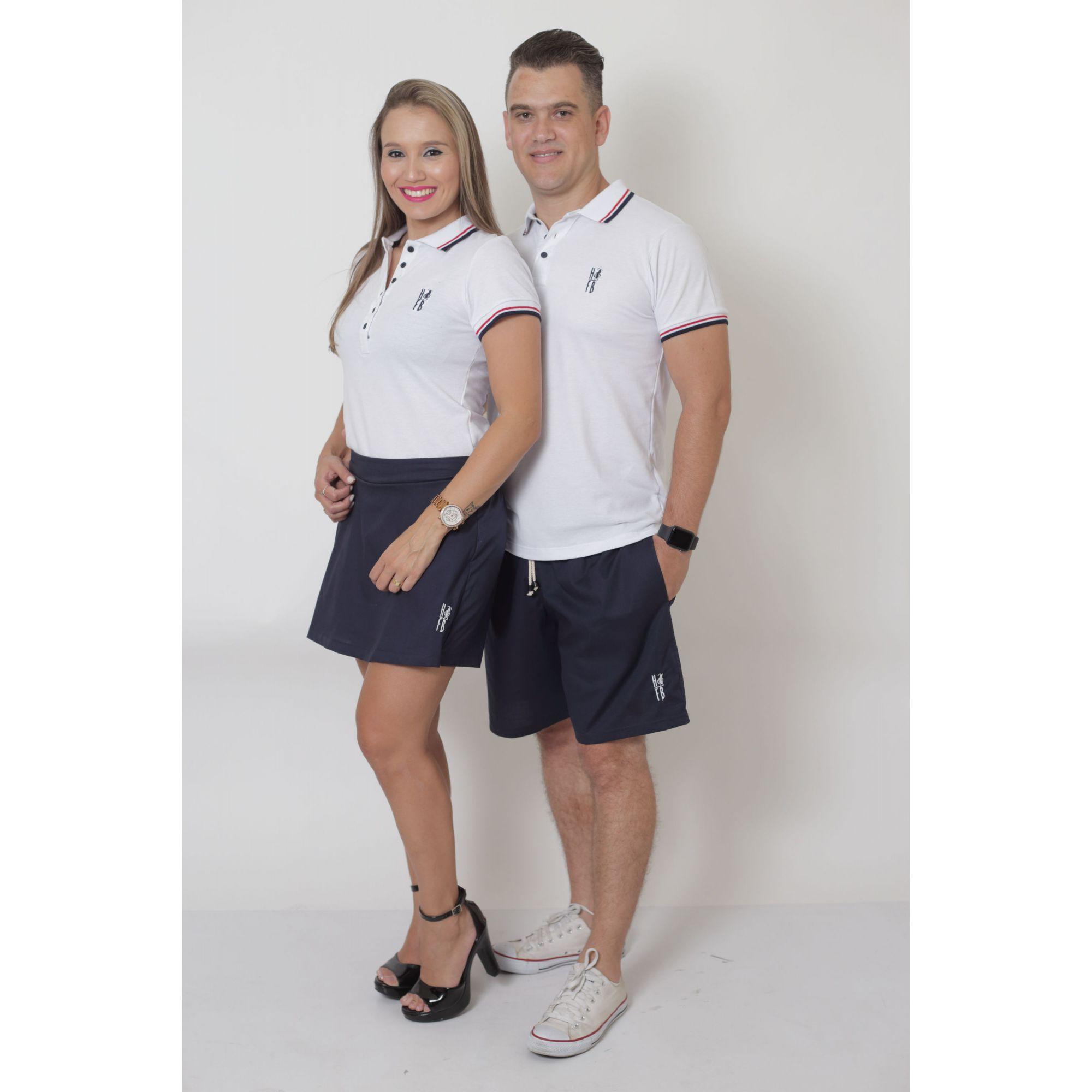 NAMORADOS > Kit 02 Peças Bermuda Masculina + Shorts Saia Feminina Azul Marinho [Coleção Namorados]