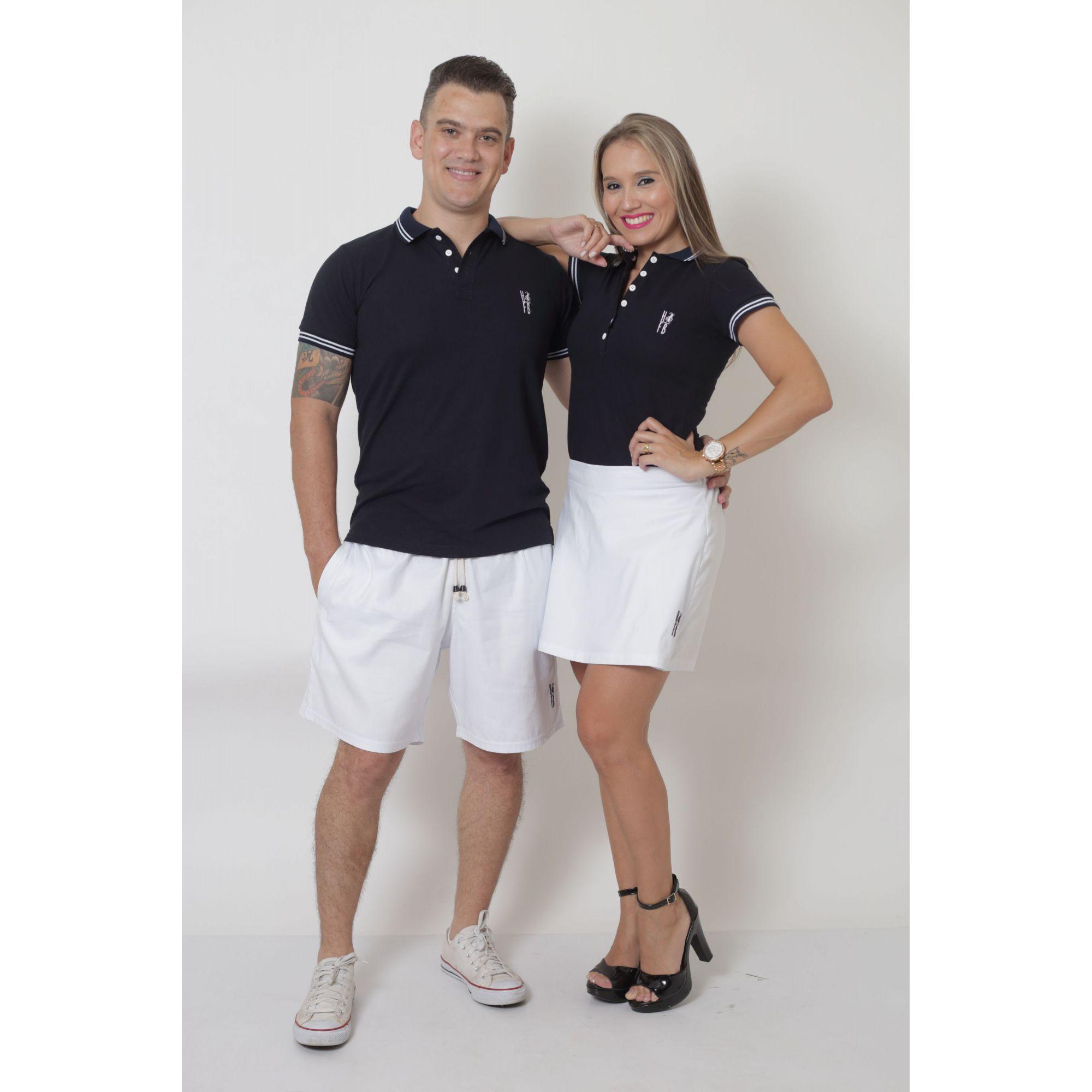 NAMORADOS > Kit 02 Peças Bermuda Masculina + Shorts Saia Feminina Branca [Coleção Namorados]  - Heitor Fashion Brazil