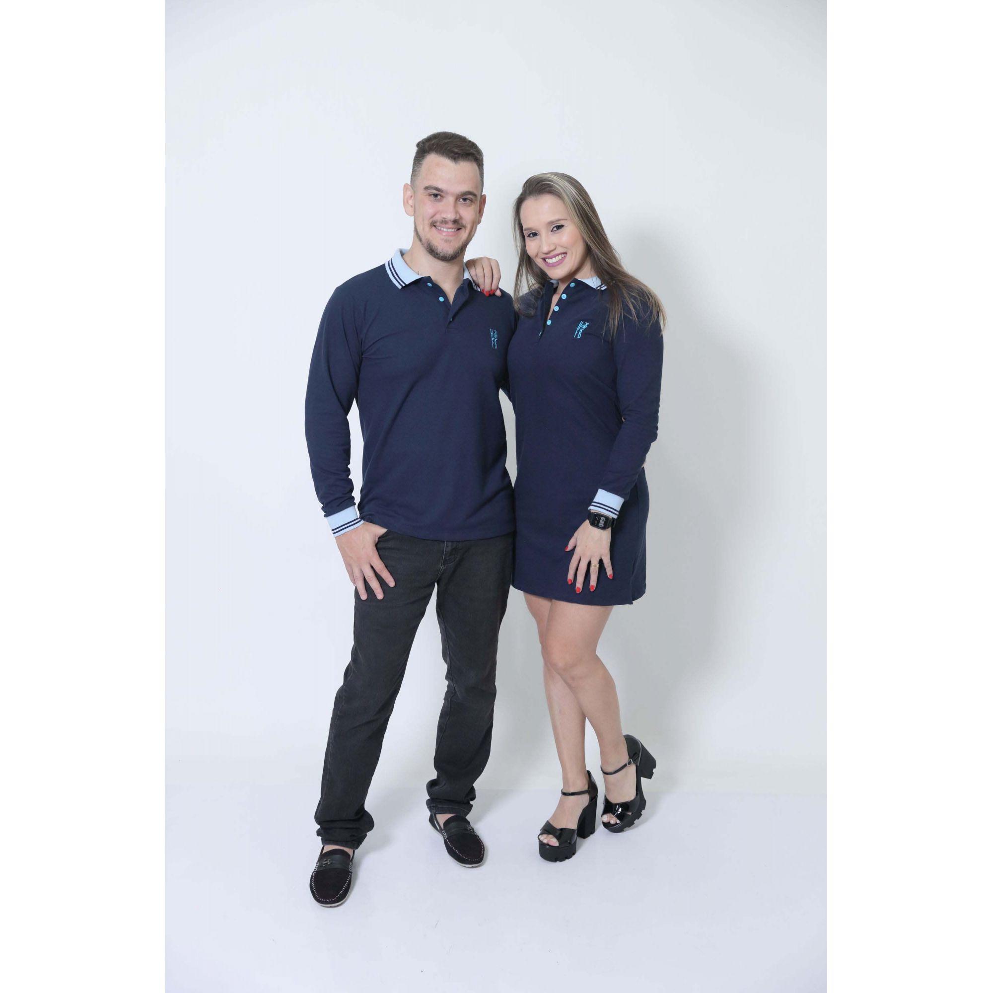 NAMORADOS > Kit 02 Peças Camisa + Vestido Polo Azul Manga Longa [Coleção Namorados]
