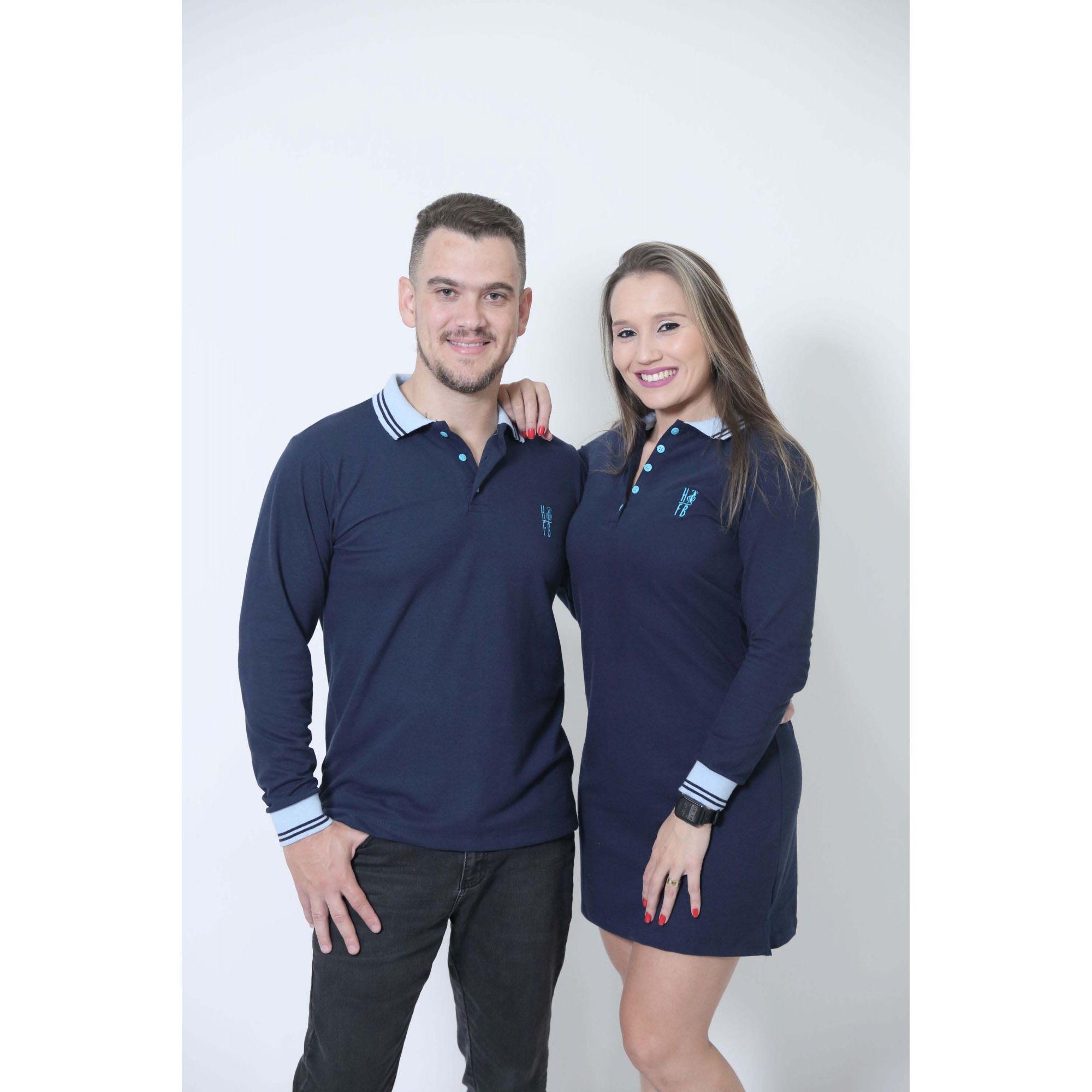 NAMORADOS > Kit 02 Peças Camisa + Vestido Polo Azul Manga Longa [Coleção Namorados]  - Heitor Fashion Brazil