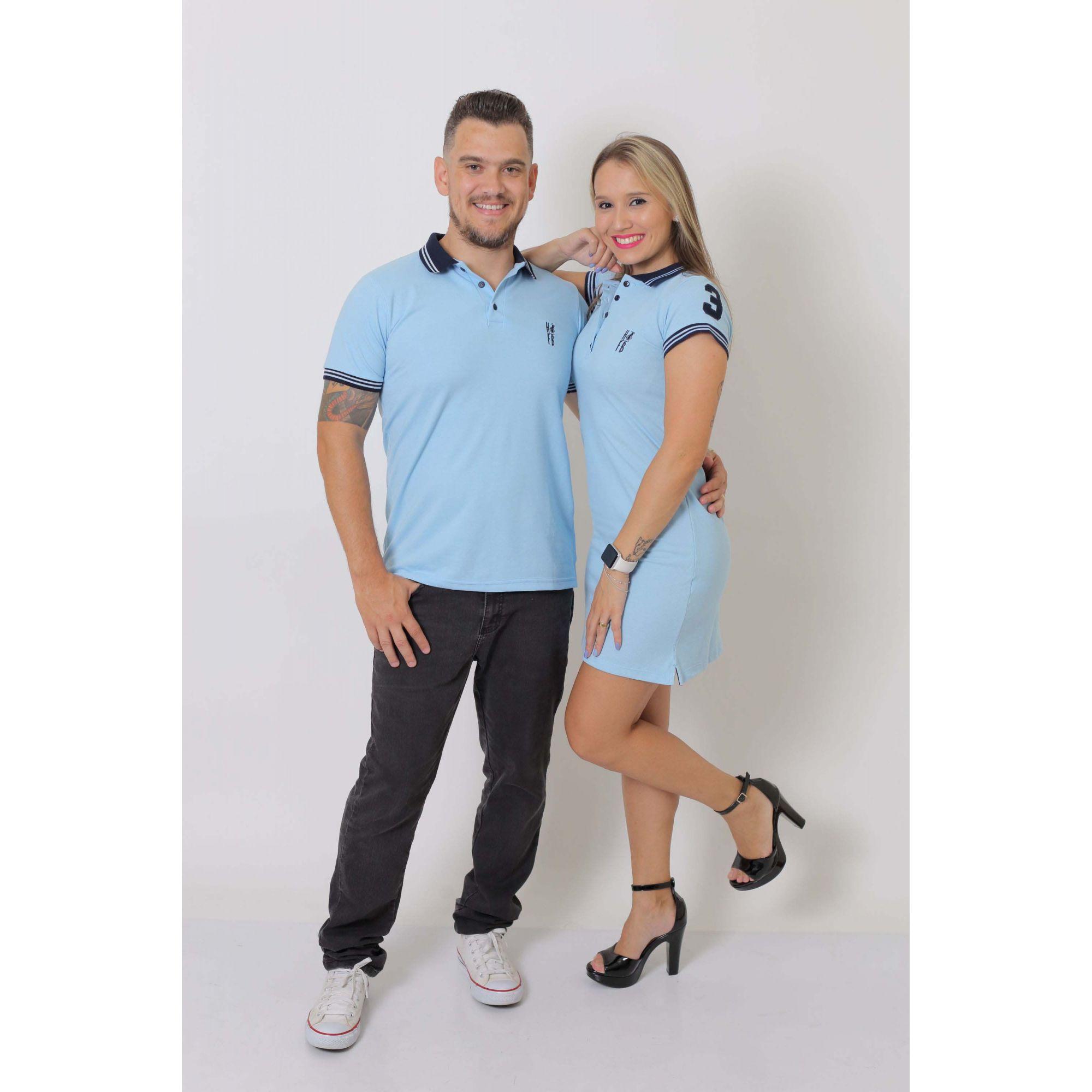 NAMORADOS > Kit 02 Peças Camisa + Vestido Polo Azul Nobreza [Coleção Namorados]  - Heitor Fashion Brazil