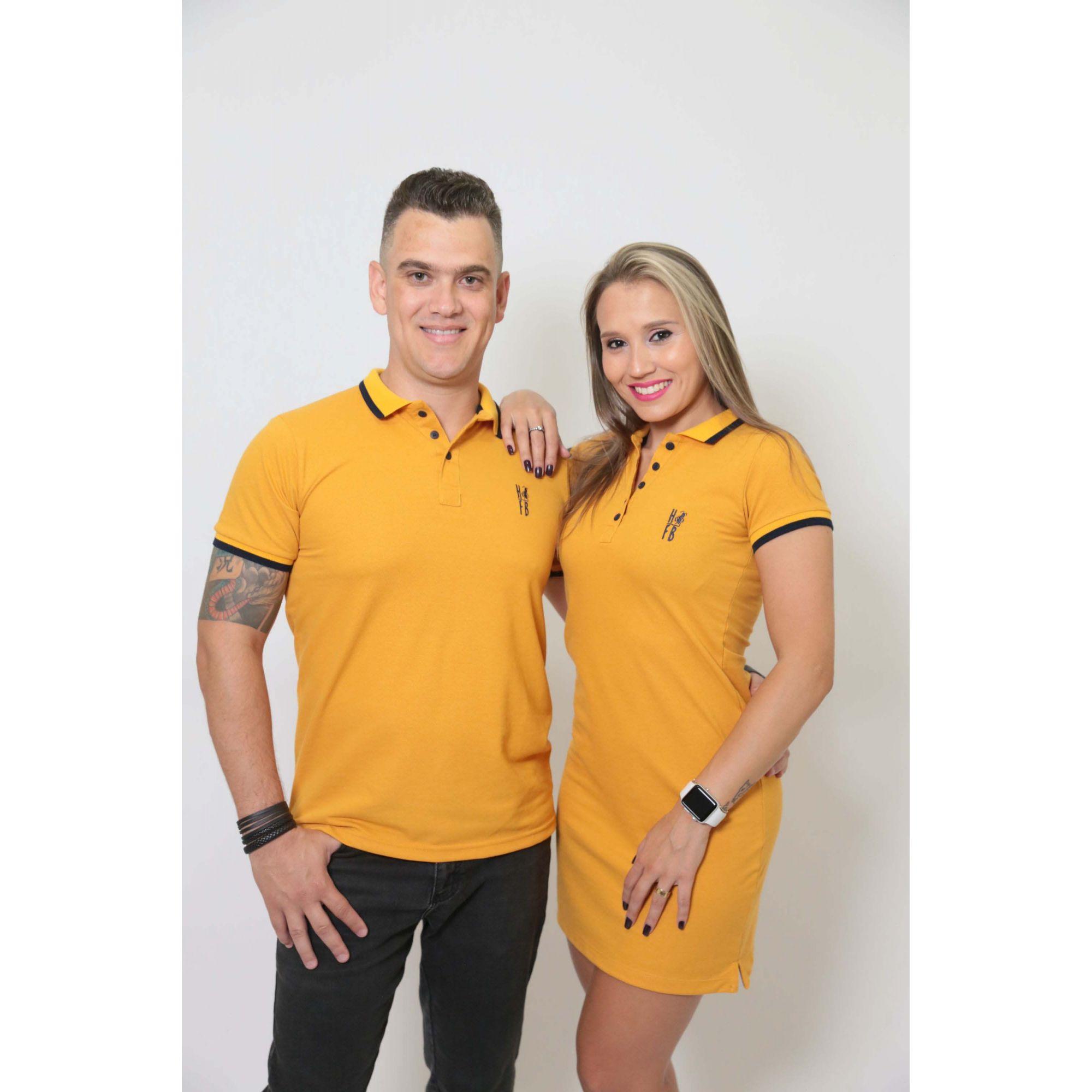NAMORADOS > Kit 02 Peças Camisa + Vestido Polo Mostarda [Coleção Namorados]