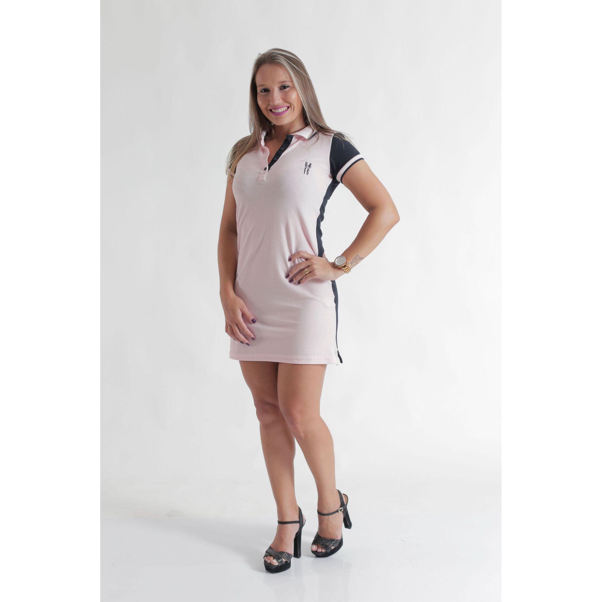 NAMORADOS > Kit 02 Peças Camisa + Vestido Polo Rosa com Marinho [Coleção Namorados]  - Heitor Fashion Brazil
