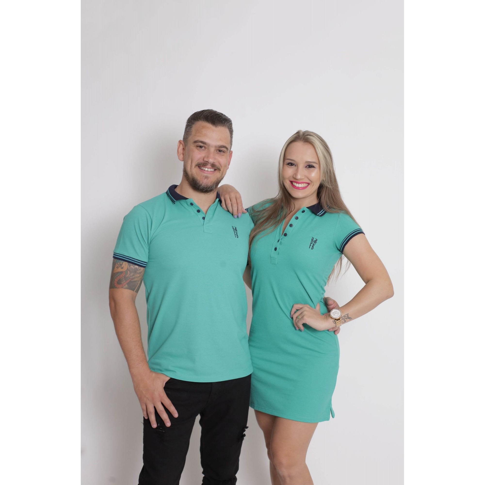 NAMORADOS > Kit 02 Peças Camisa + Vestido Polo Verde Jade [Coleção Namorados]  - Heitor Fashion Brazil