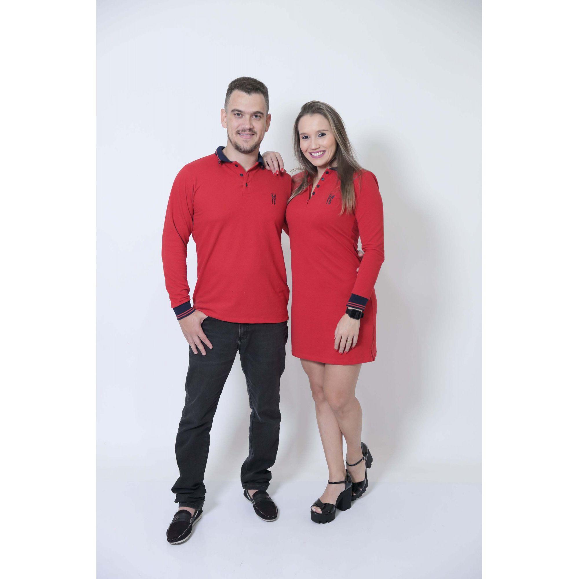 NAMORADOS > Kit 02 Peças Camisa + Vestido Polo Vermelho Manga Longa [Coleção Namorados]  - Heitor Fashion Brazil