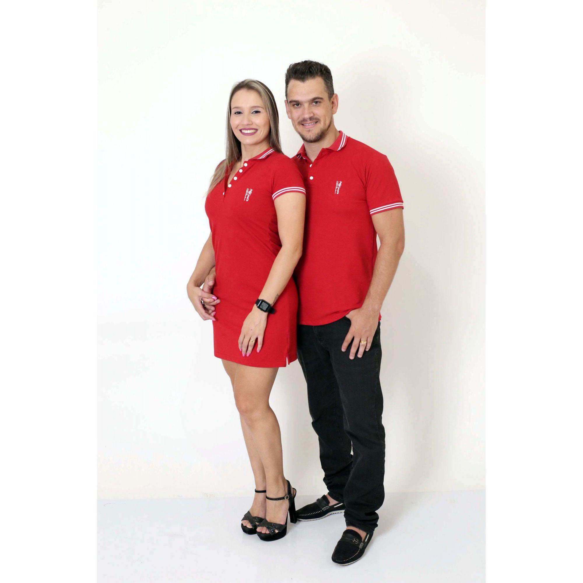 NAMORADOS > Kit 02 Peças Camisa + Vestido Polo Vermelho Paixão [Coleção Namorados]  - Heitor Fashion Brazil