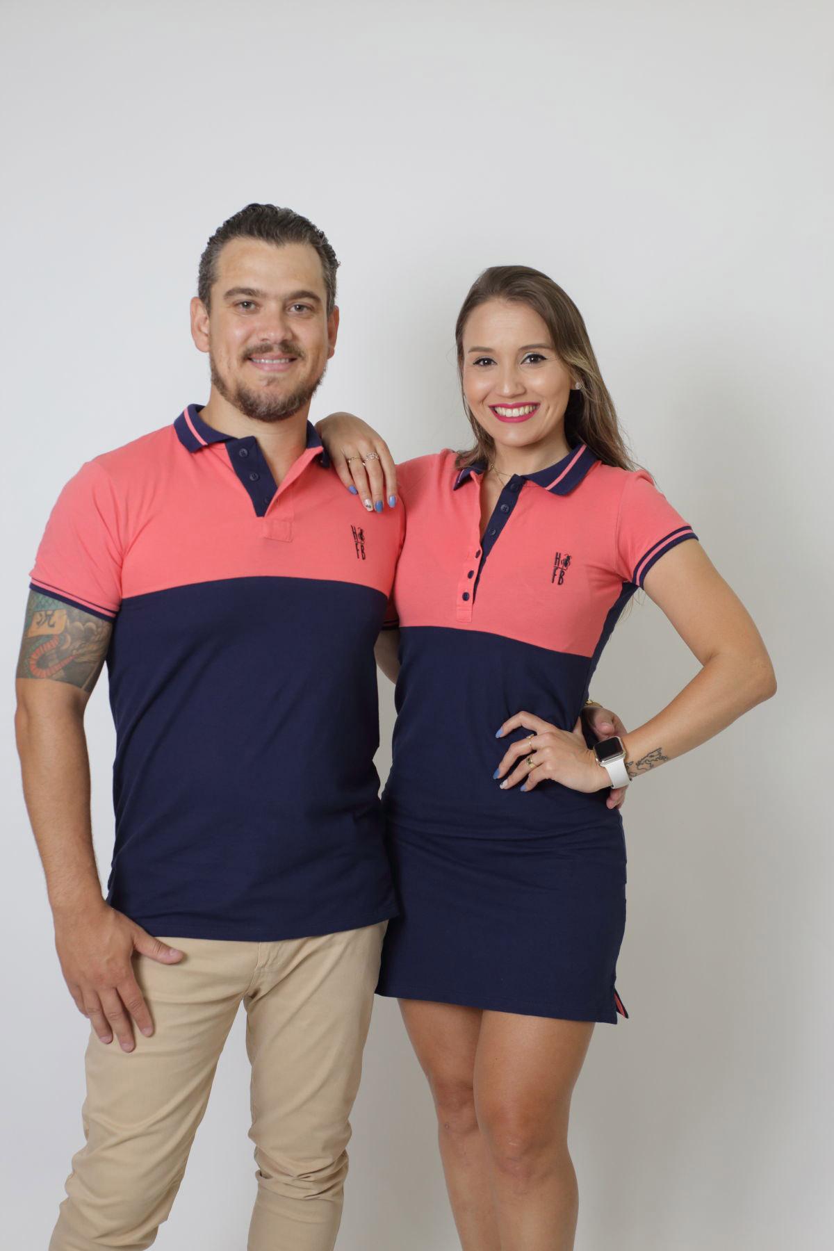 NAMORADOS > Kit 02 Peças Camisa + Vestido Polo Goiaba com Marinho PREMIUM