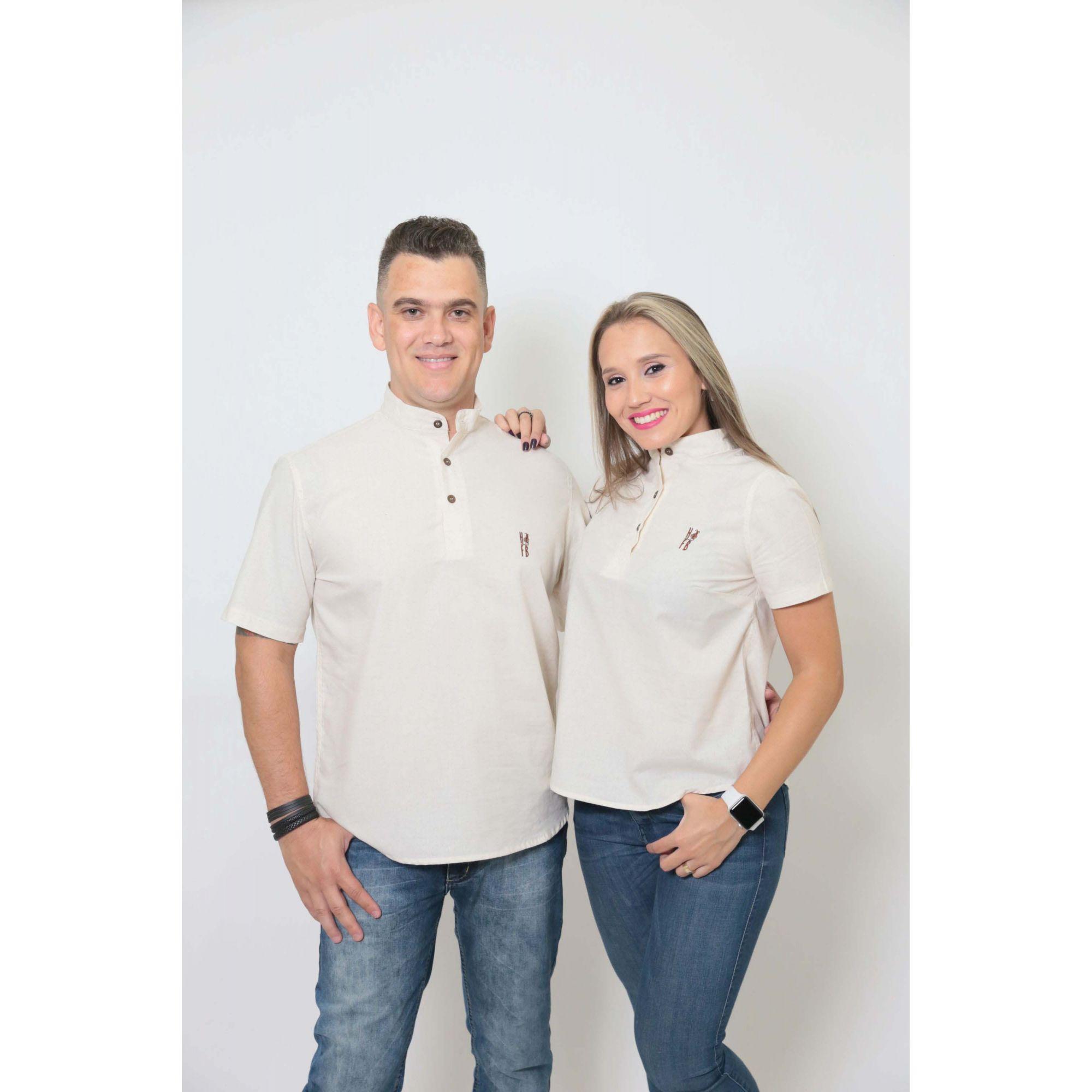 NAMORADOS > Kit 02 Peças Camisas Bata Gola Padre [Coleção Namorados]