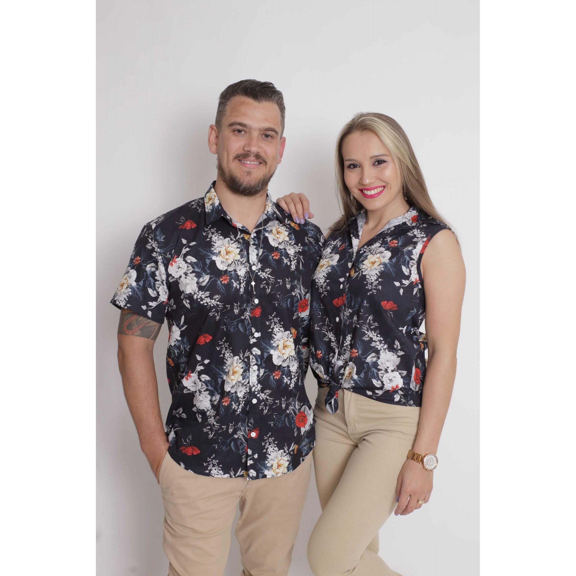 NAMORADOS > Kit 02 Peças Camisas manga Curta Preta Floral [Coleção Namorados]  - Heitor Fashion Brazil