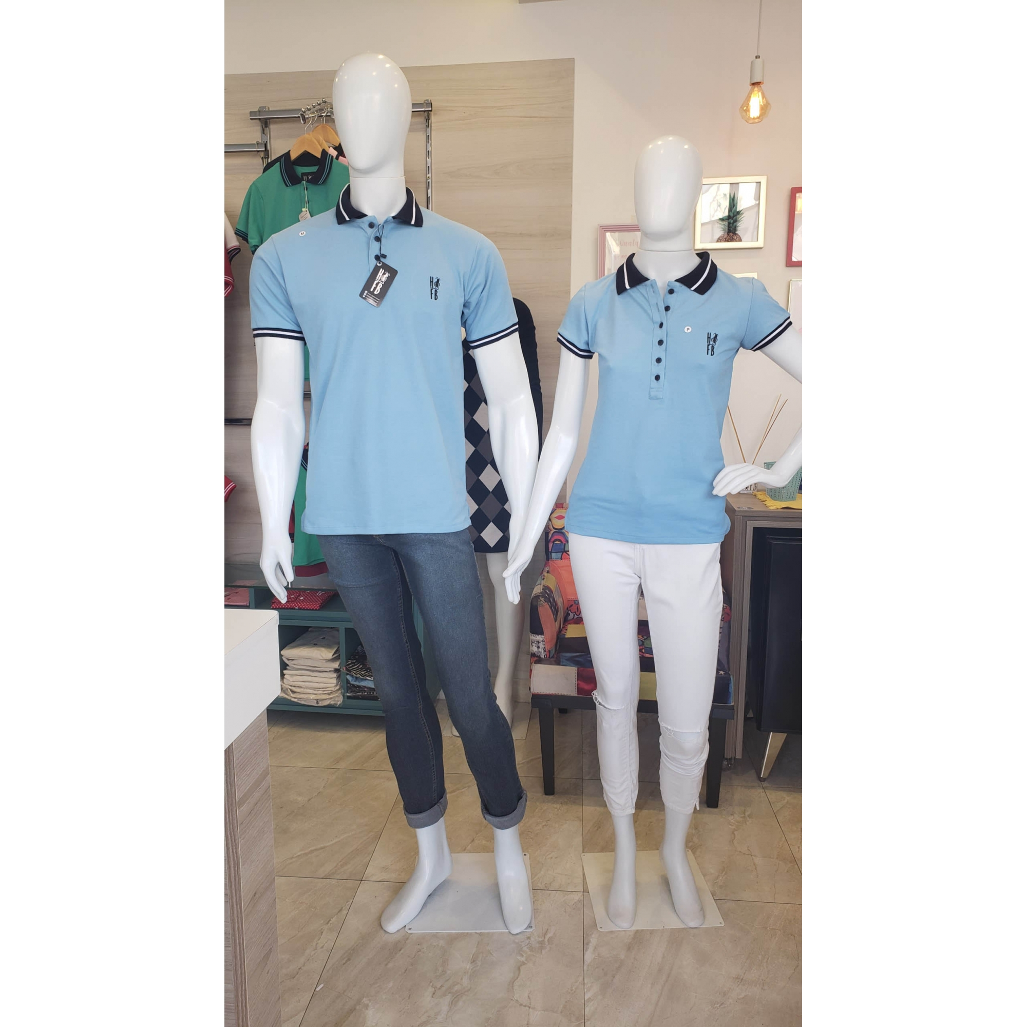 NAMORADOS > Kit 02 Peças Camisas Polo Masculina + Feminina Azul Nobreza [Coleção Namorados]