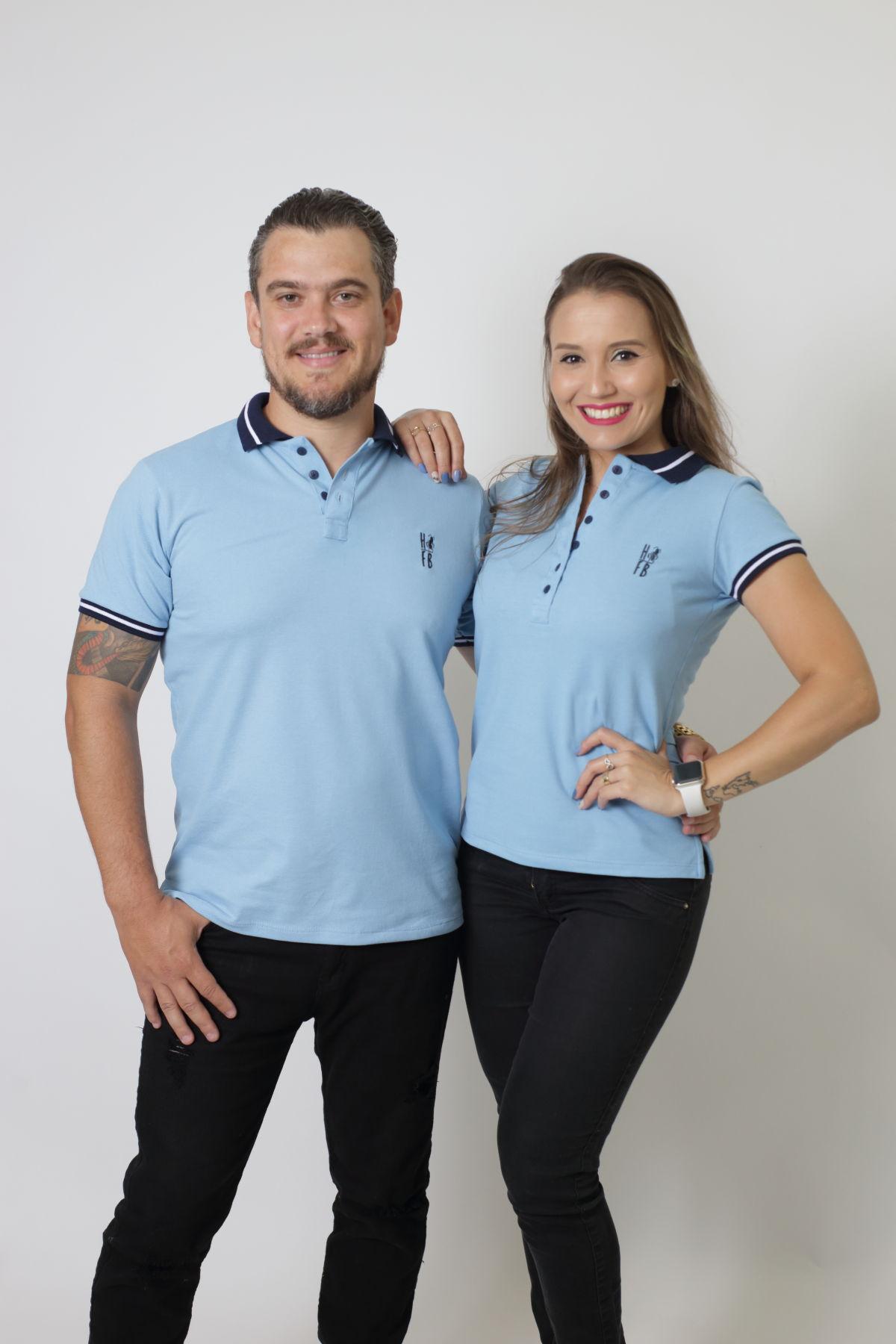 NAMORADOS > Kit 02 Peças Camisas Polo Masculina + Feminina Azul Nobreza