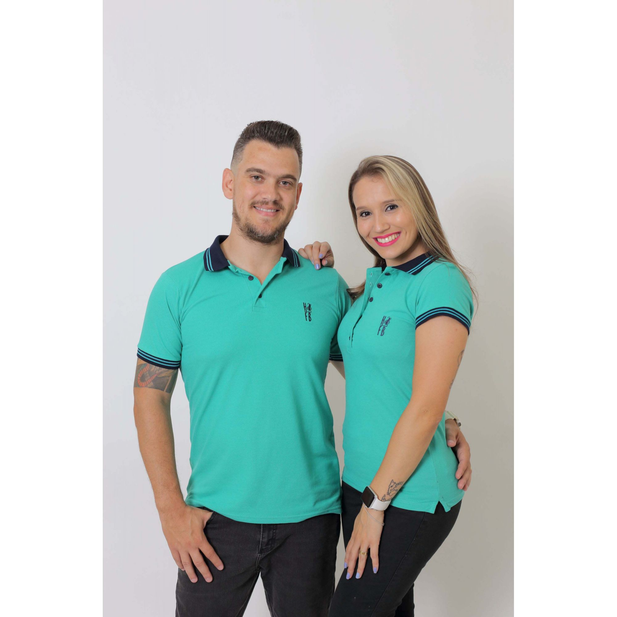 NAMORADOS > Kit 02 Peças Camisas Polo Masculina + Feminina Azul Verde Jade [Coleção Namorados]