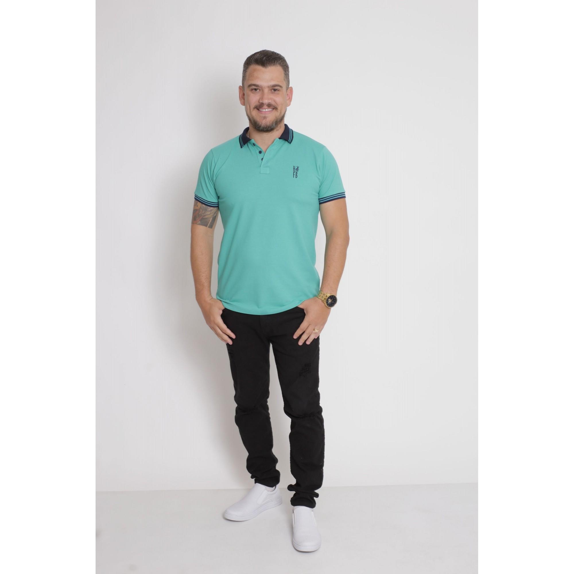 NAMORADOS > Kit 02 Peças Camisas Polo Masculina + Feminina Azul Verde Jade [Coleção Namorados]  - Heitor Fashion Brazil