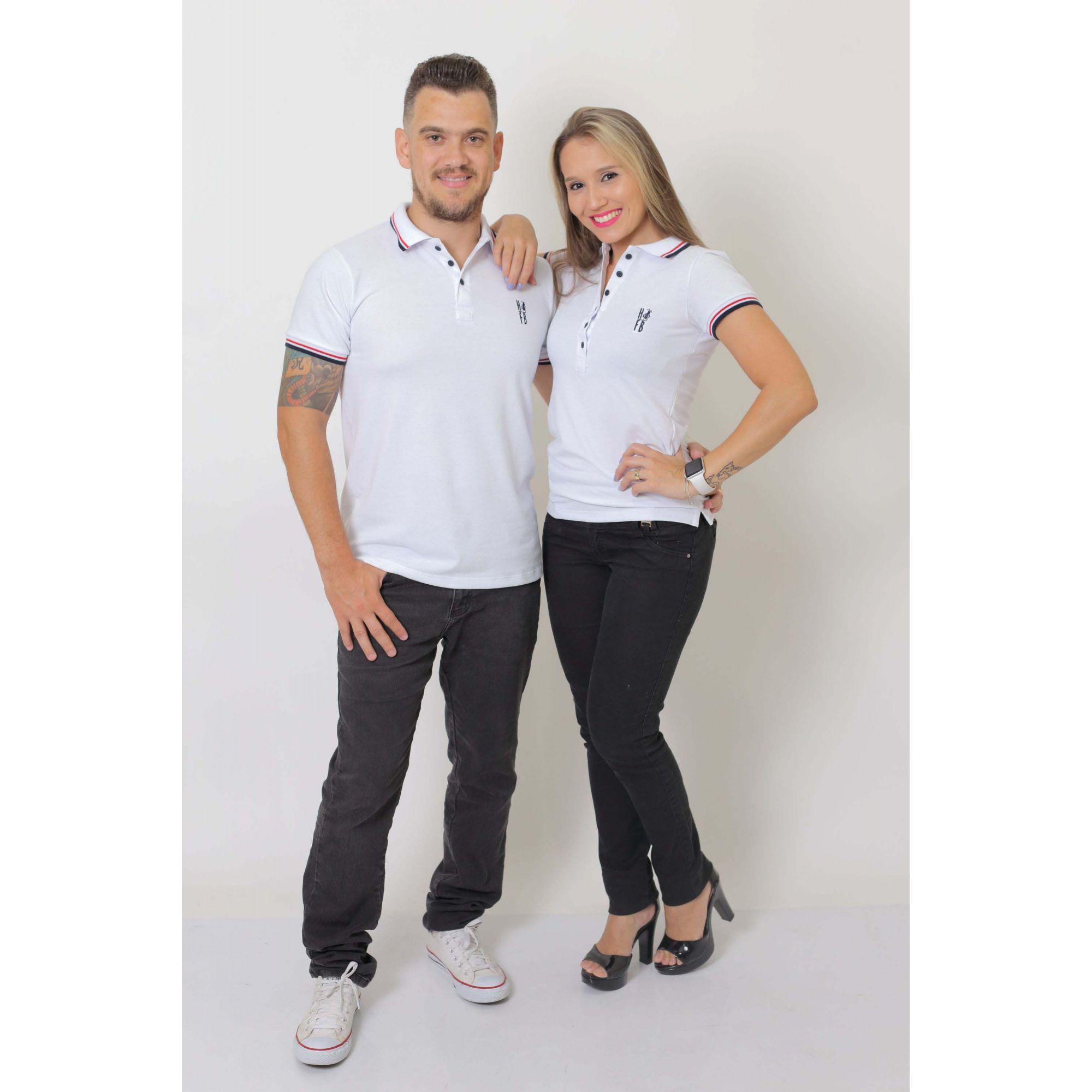 NAMORADOS > Kit 02 Peças Camisas Polo Masculina + Feminina Branca [Coleção Namorados]