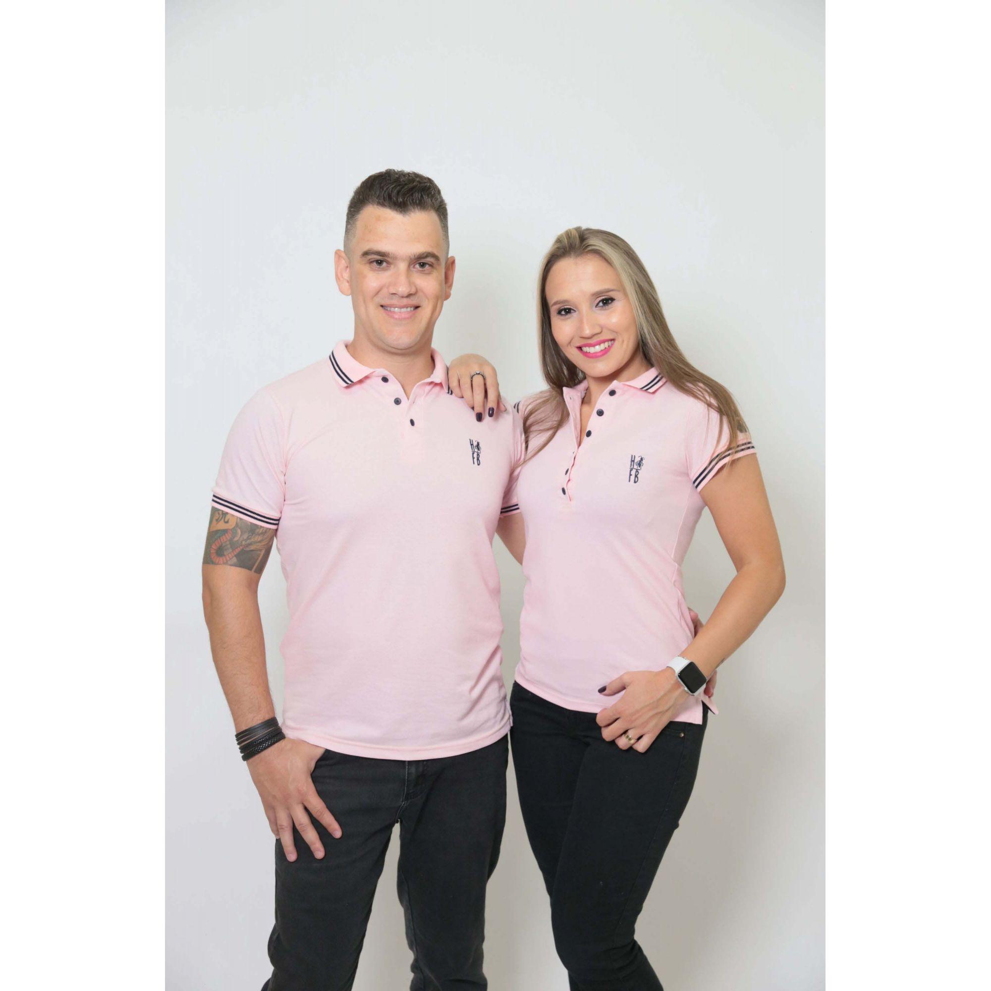 NAMORADOS > Kit 02 Peças Camisas Polo Masculina + Feminina Rosa Amor [Coleção Namorados]