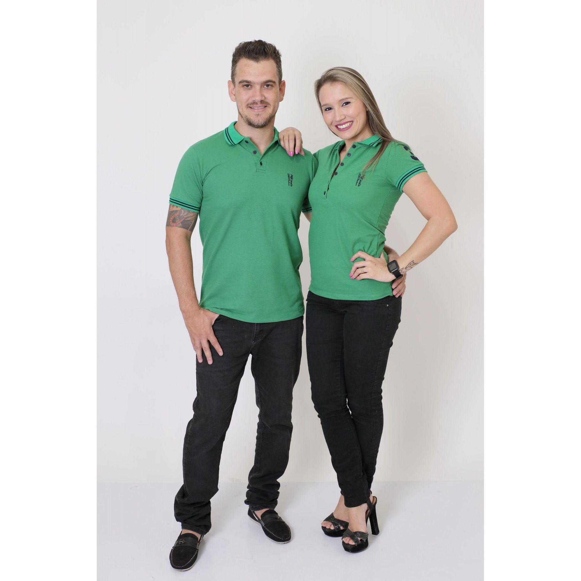 NAMORADOS > Kit 02 Peças Camisas Polo Masculina + Feminina Verde Esperança [Coleção Namorados]  - Heitor Fashion Brazil