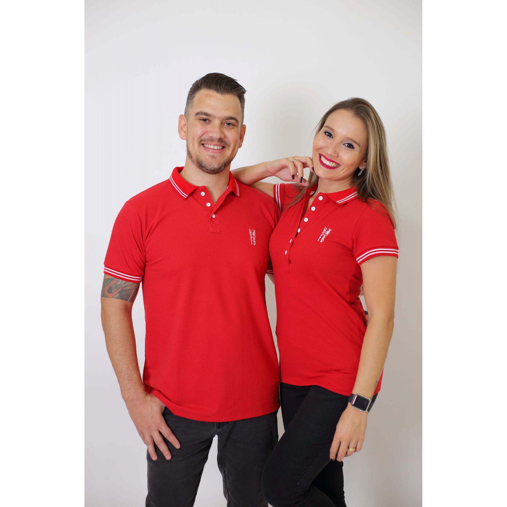 NAMORADOS > Kit 02 Peças Camisas Polo Masculina + Feminina Vermelho Paixão [Coleção Namorados]