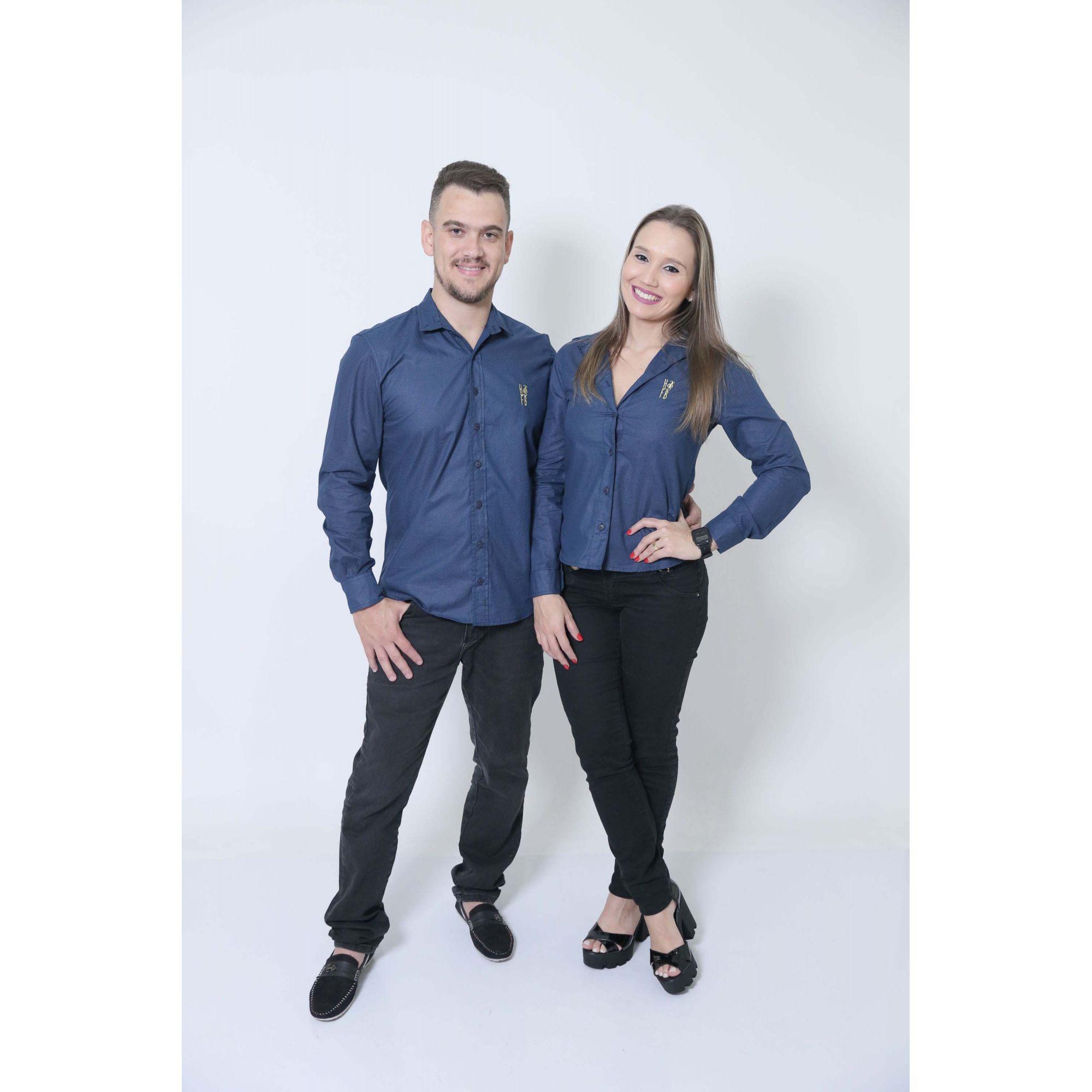 NAMORADOS > Kit 02 Peças Camisas Social Azul Marinho Steve Seagal [Coleção Namorados]