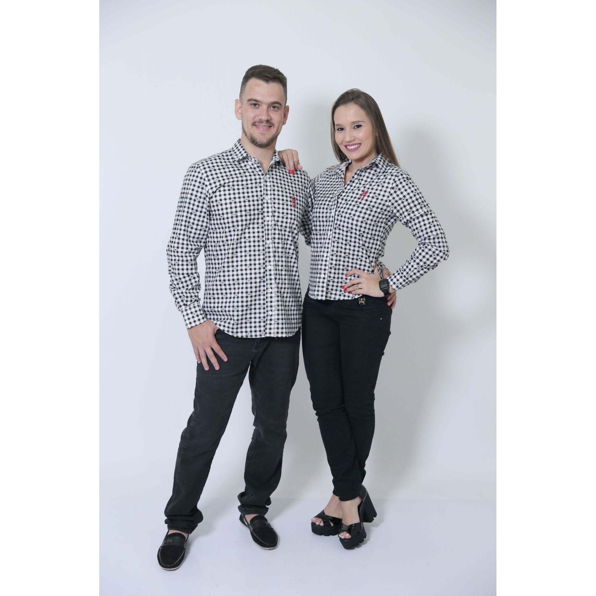 NAMORADOS > Kit 02 Peças Camisas Social Xadrez Dama [Coleção Namorados]