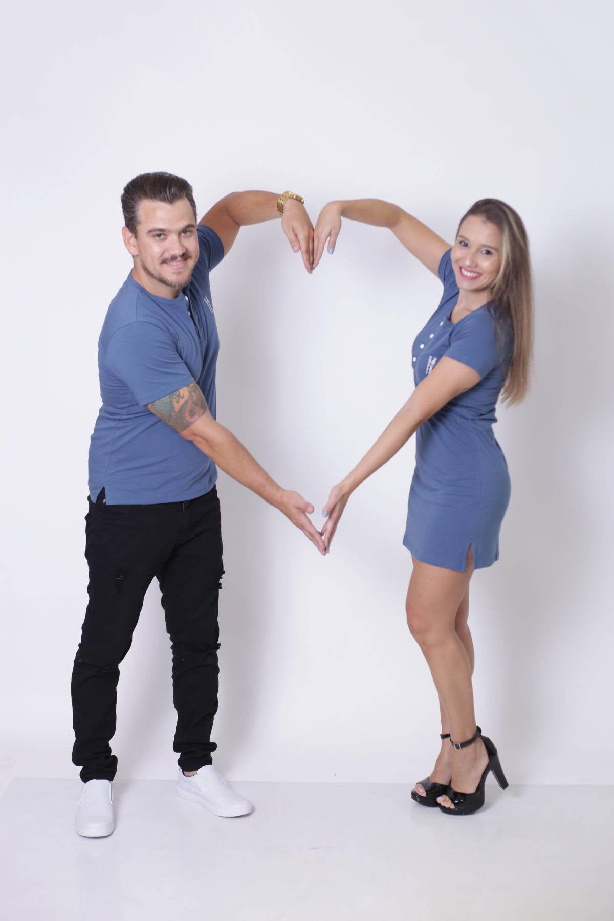 NAMORADOS > Kit 02 Peças - T-Shirt + Vestido - Henley - Azul Petróleo [Coleção Namorados]  - Heitor Fashion Brazil
