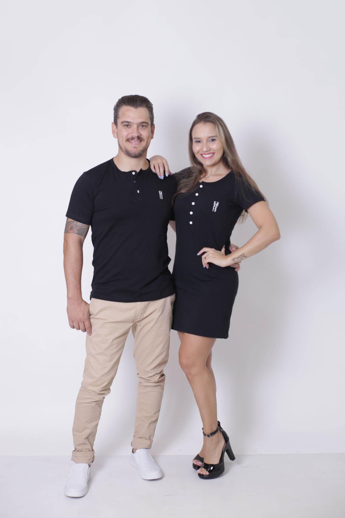 NAMORADOS > Kit 02 Peças - T-Shirt + Vestido - Henley - Preto [Coleção Namorados]