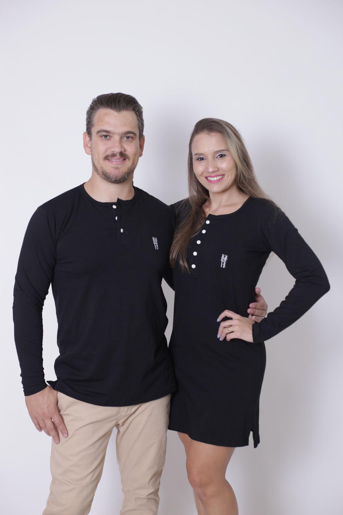 NAMORADOS > Kit 02 Peças - T-Shirt + Vestido - Henley - Preto Manga Longa [Coleção Namorados]  - Heitor Fashion Brazil