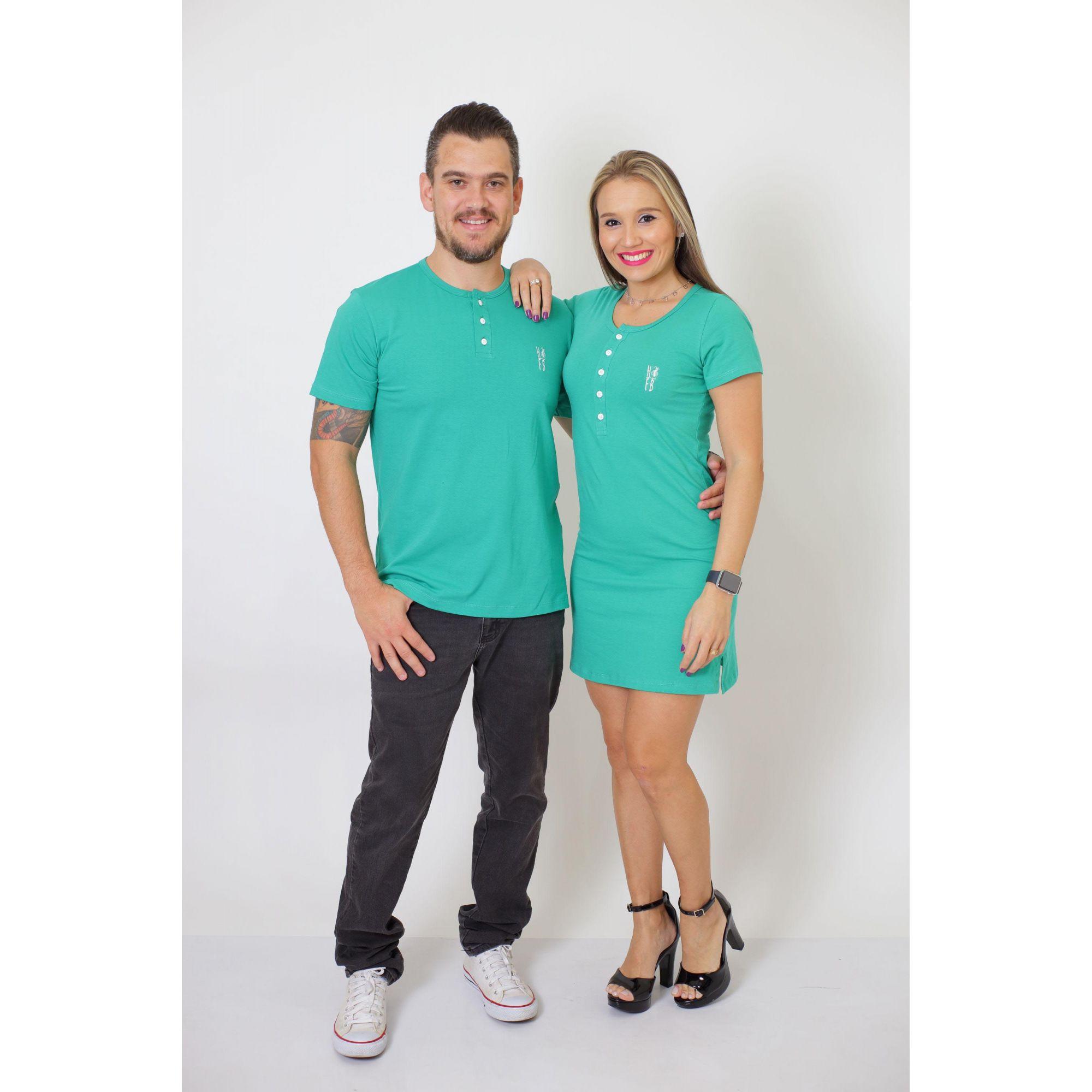 NAMORADOS > Kit 02 Peças - T-Shirt + Vestido - Henley - Verde Jade [Coleção Namorados]  - Heitor Fashion Brazil