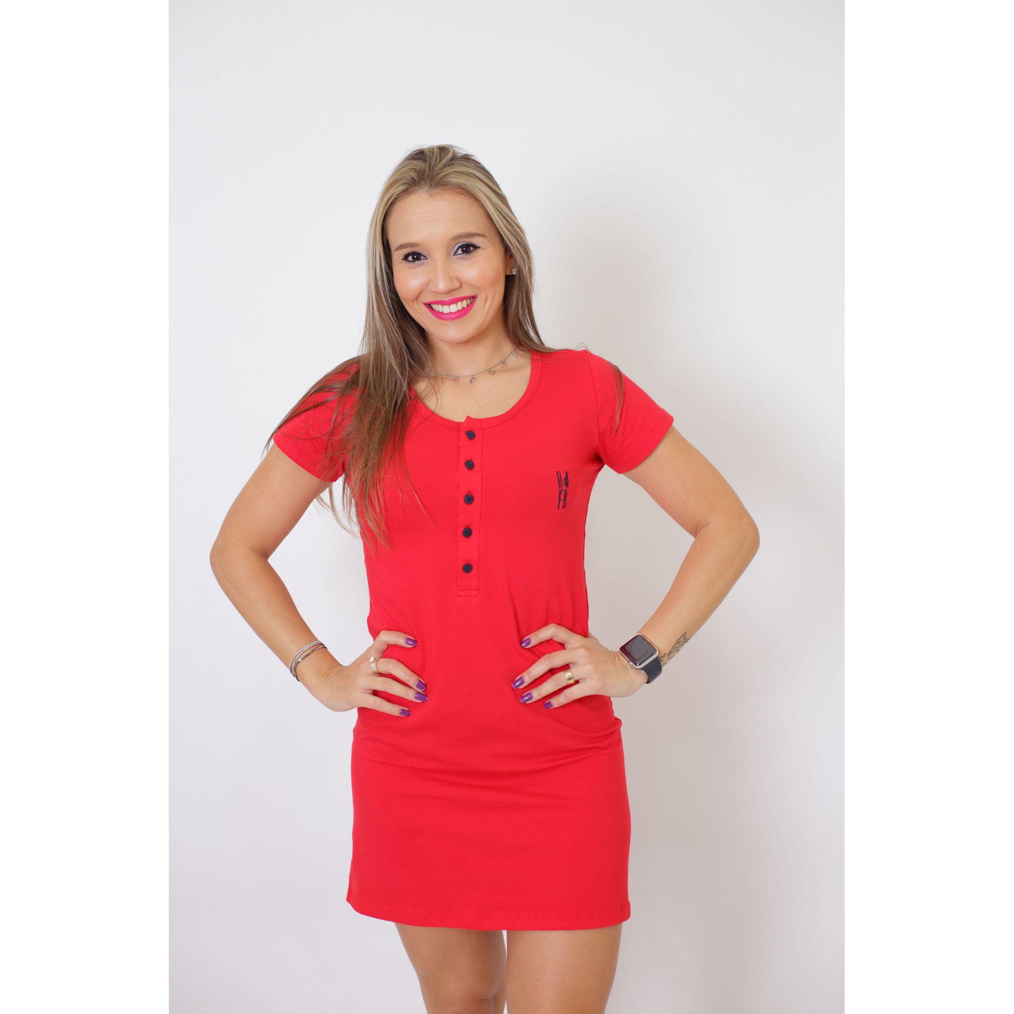 NAMORADOS > Kit 02 Peças - T-Shirt + Vestido - Henley - Vermelha [Coleção Namorados]  - Heitor Fashion Brazil