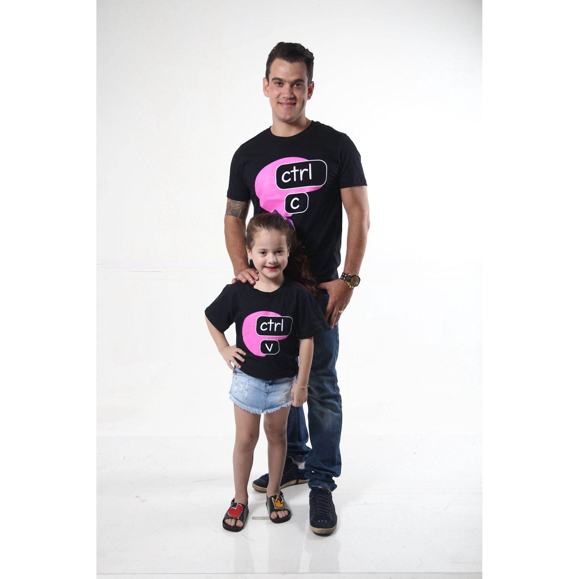 PAI E FILHA >  02 Camisetas Pretas Ctrl+C & Ctrl+V [Coleção Tal Pai Tal Filho]