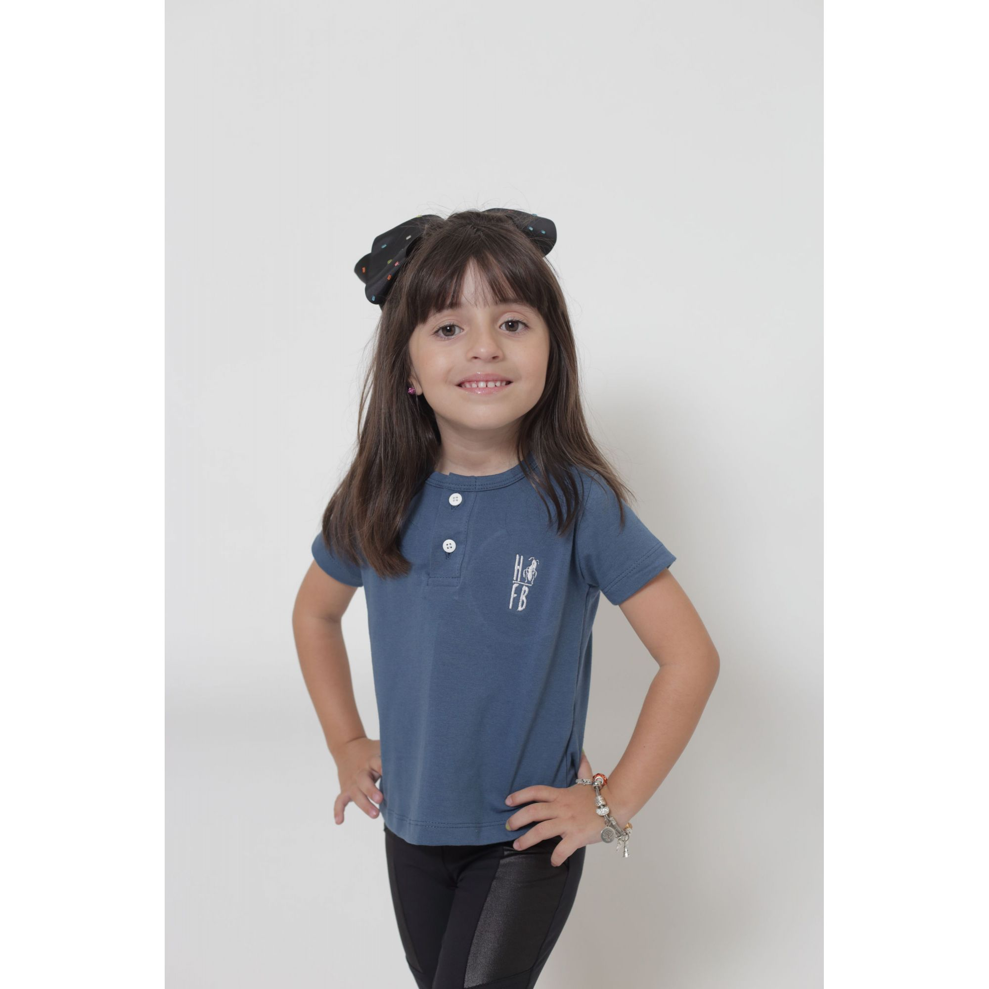 PAI E FILHA > 02 T-Shirts ou Body Henley - Azul Petróleo  [Coleção Tal Pai Tal Filha]  - Heitor Fashion Brazil