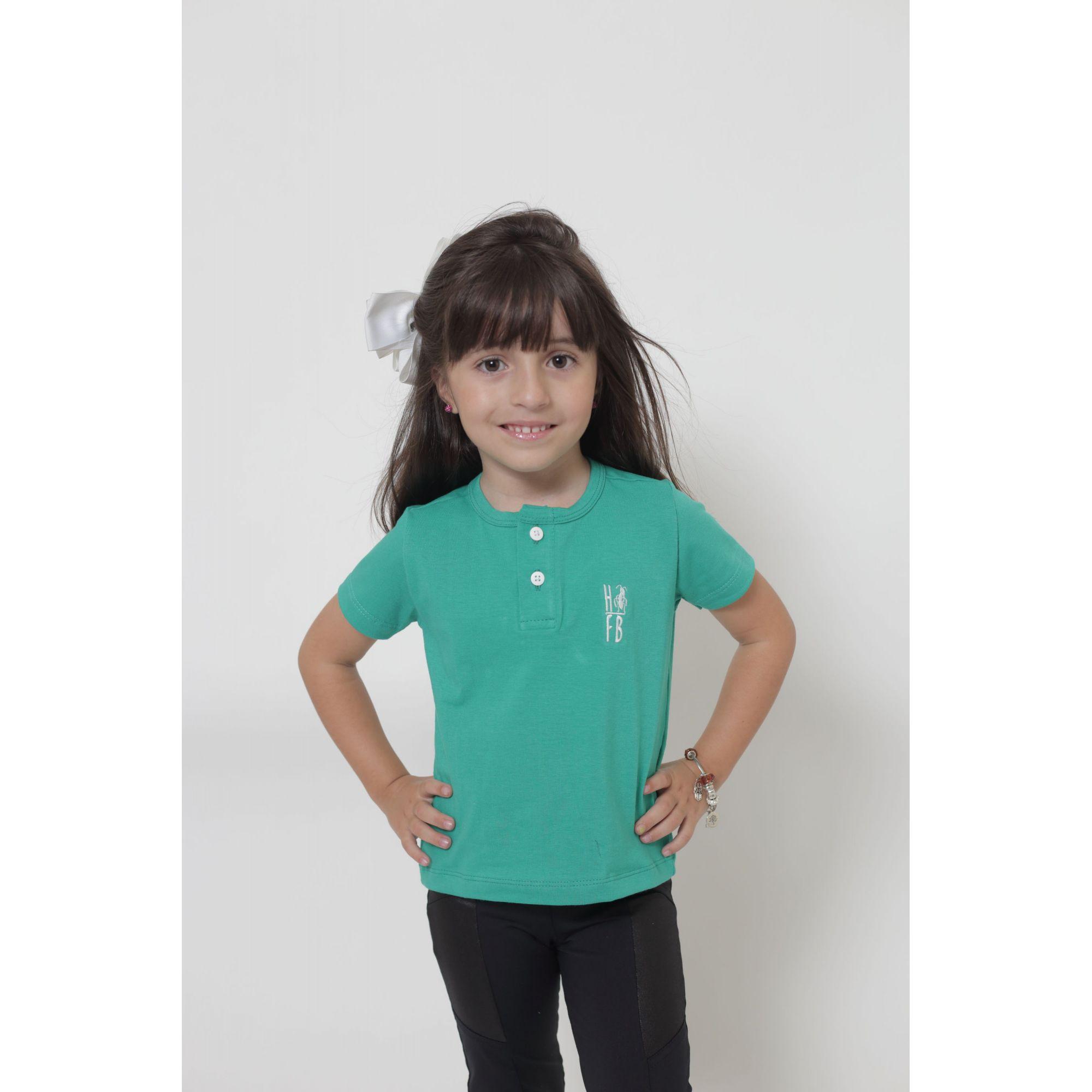 PAI E FILHA > 02 T-Shirts ou Body Henley - Verde Jade  [Coleção Tal Pai Tal Filha]  - Heitor Fashion Brazil