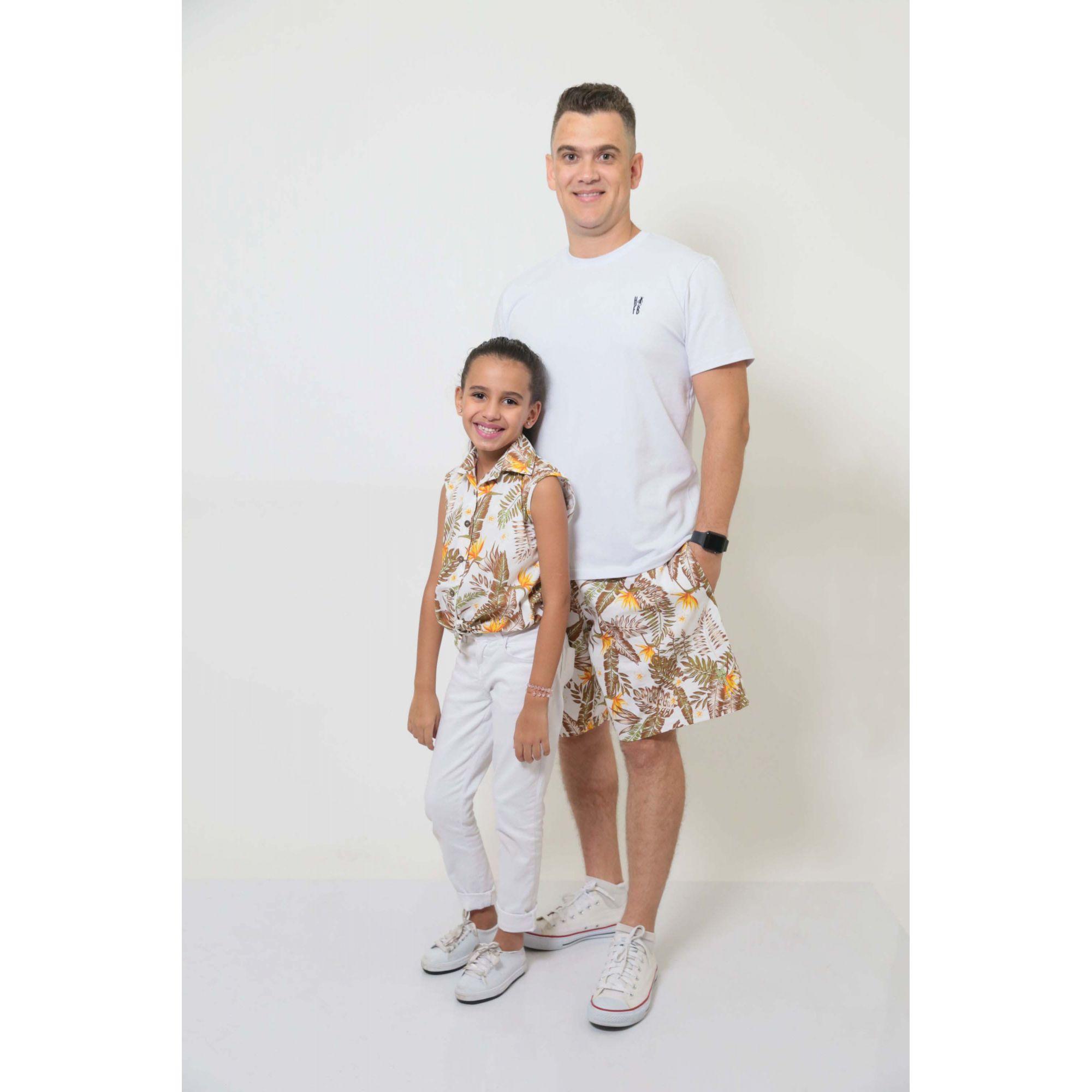 PAI E FILHA > Bermuda Masculina + Camisa Feminina Infantil Amazonas [Coleção Tal Pai Tal Filha]  - Heitor Fashion Brazil