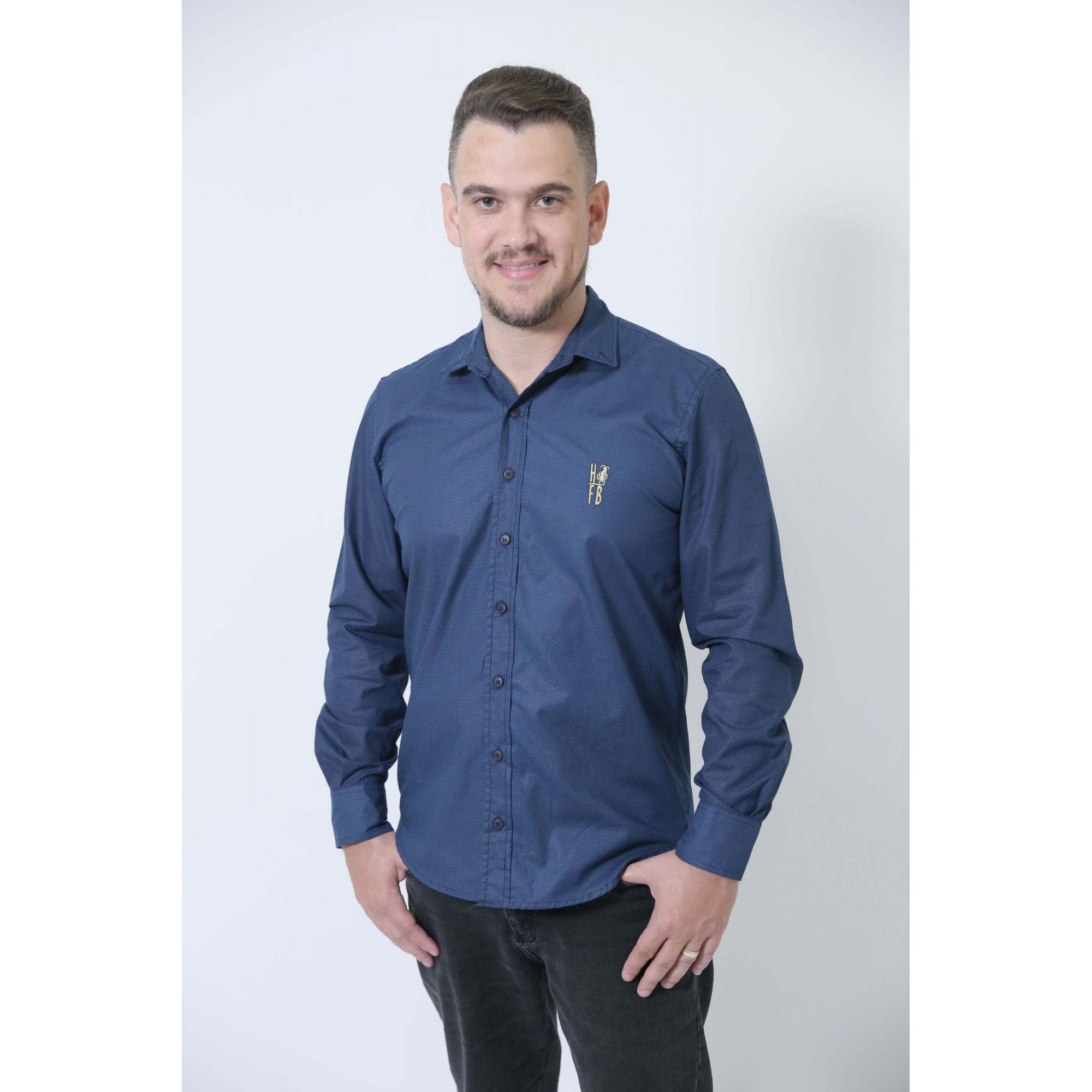 PAI E FILHA > Camisas Social Steven Seagal - Azul Marinho [Coleção Tal Pai Tal Filha]  - Heitor Fashion Brazil