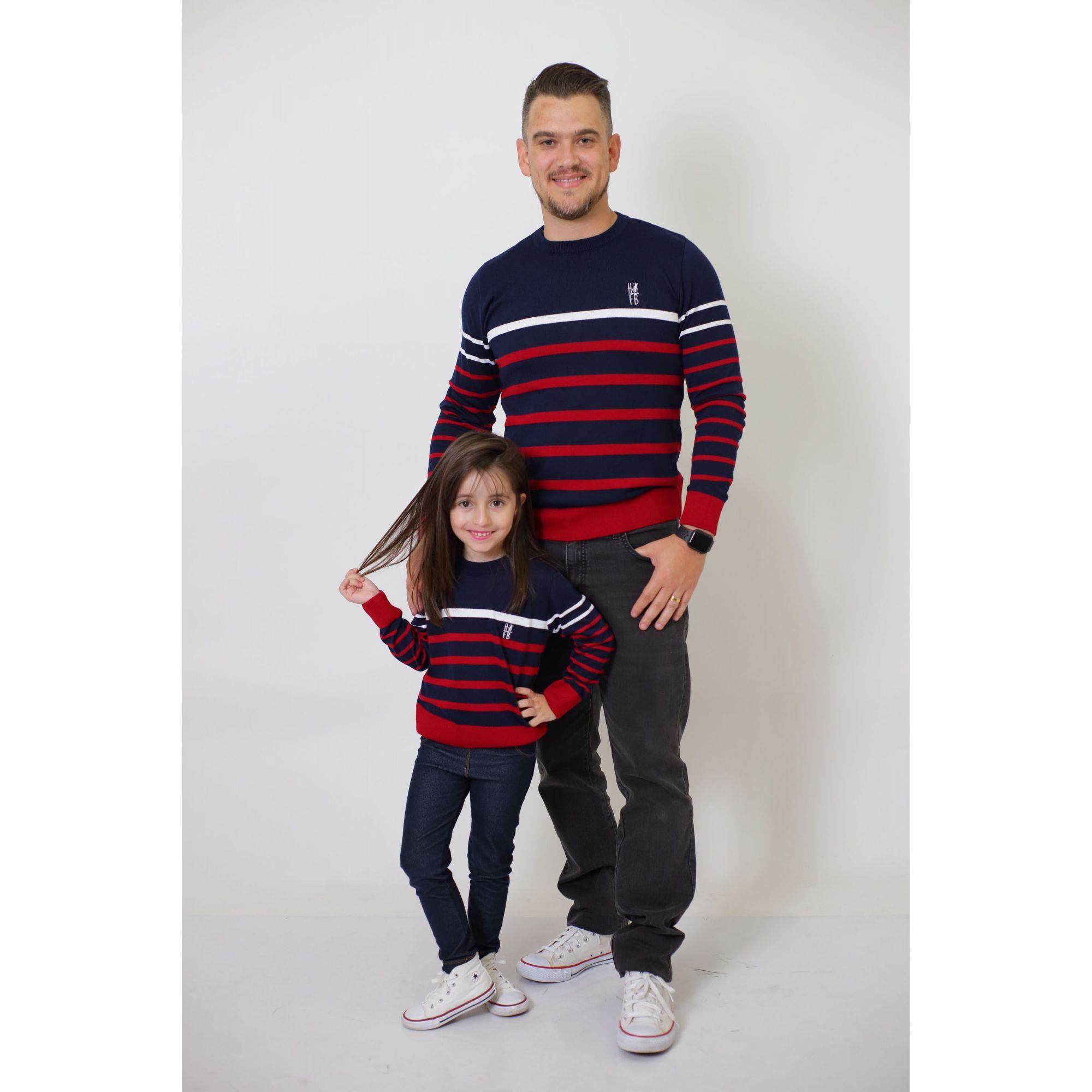 PAI E FILHA > Kit 02 Blusas Suéter Listrado [Coleção Tal Pai Tal Filha]