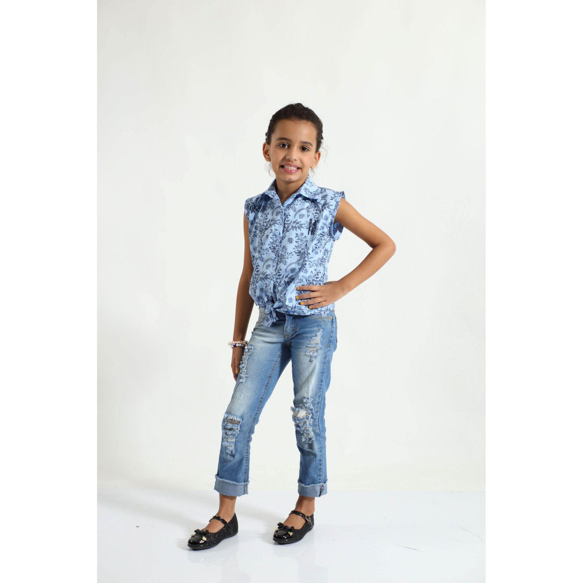 PAI E FILHA > Kit 02 Camisas Manga Curta Azul Floral  [Coleção Tal Pai Tal Filha]  - Heitor Fashion Brazil