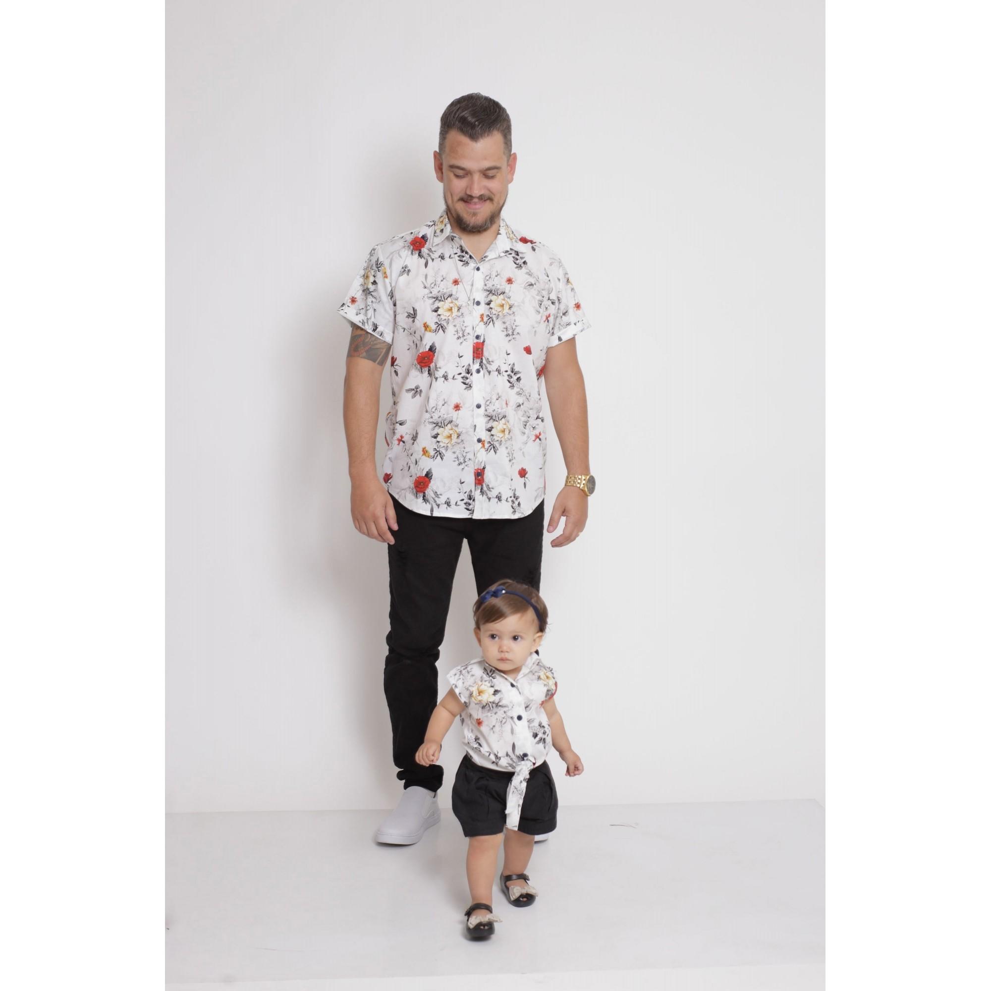 PAI E FILHA > Kit 02 Camisas Manga Curta Branca Floral [Coleção Tal Pai Tal Filha]  - Heitor Fashion Brazil