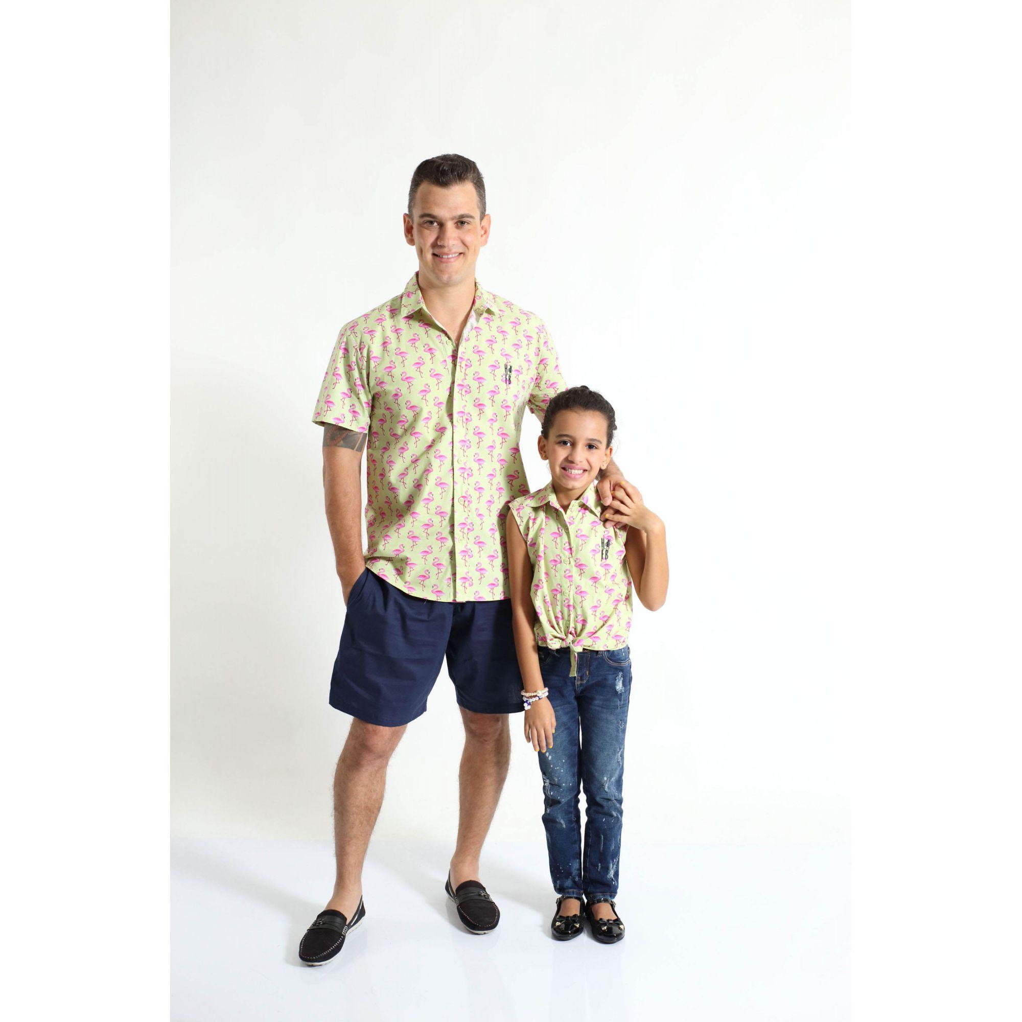 PAI E FILHA > Kit 02 Camisas Manga Curta Flamingo [Coleção Tal Pai Tal Filha]  - Heitor Fashion Brazil