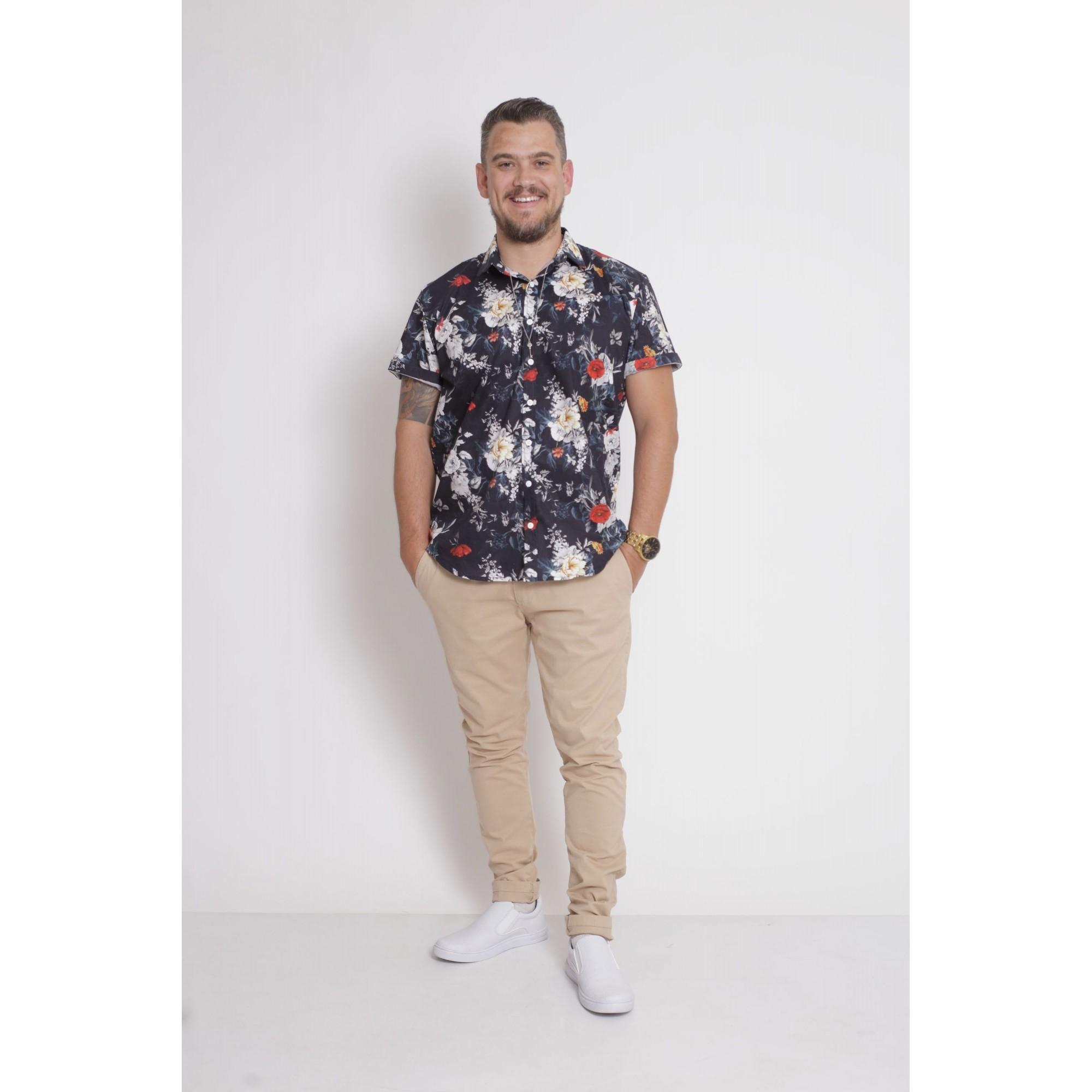 PAI E FILHA > Kit 02 Camisas Manga Curta Preta Floral [Coleção Tal Pai Tal Filha]  - Heitor Fashion Brazil