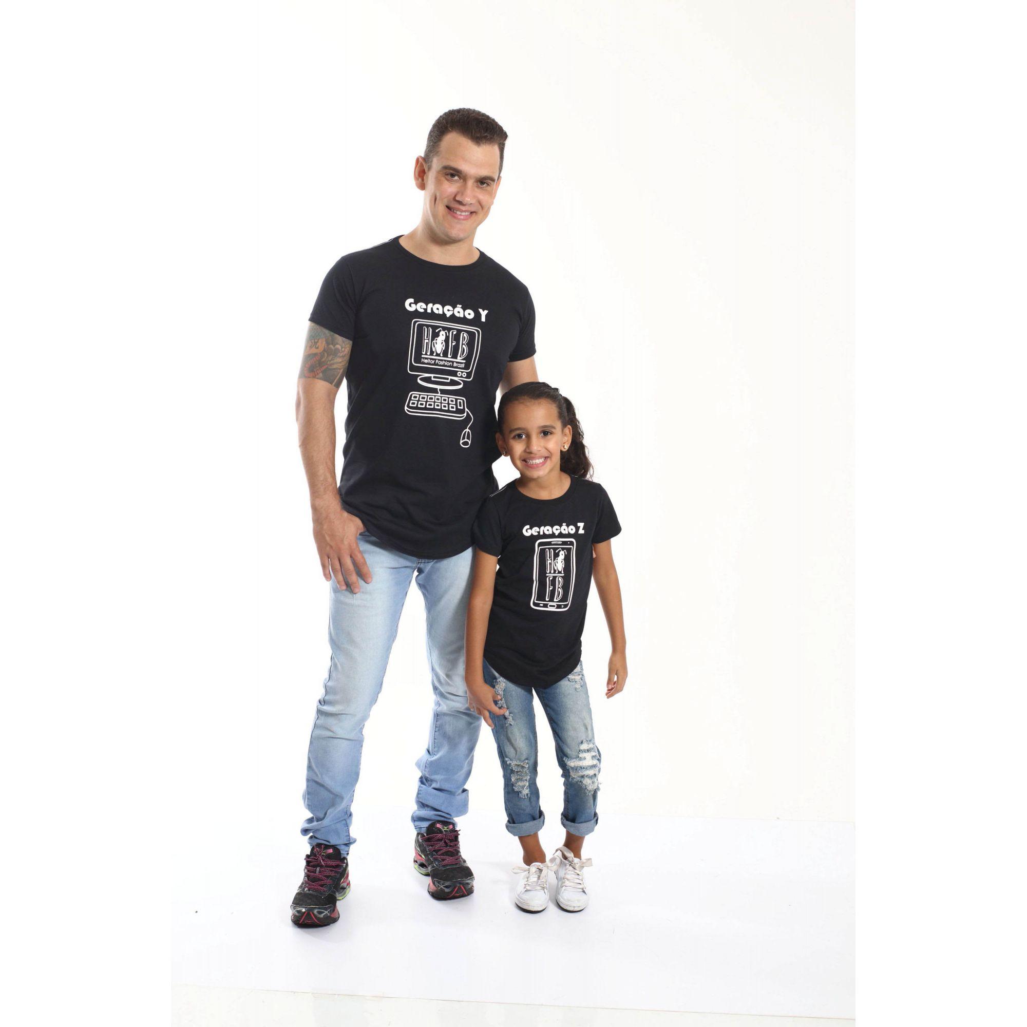PAI E FILHA > Kit 02 Camisetas Long Geração Y e Z [Coleção Tal Pai Tal Filha]  - Heitor Fashion Brazil