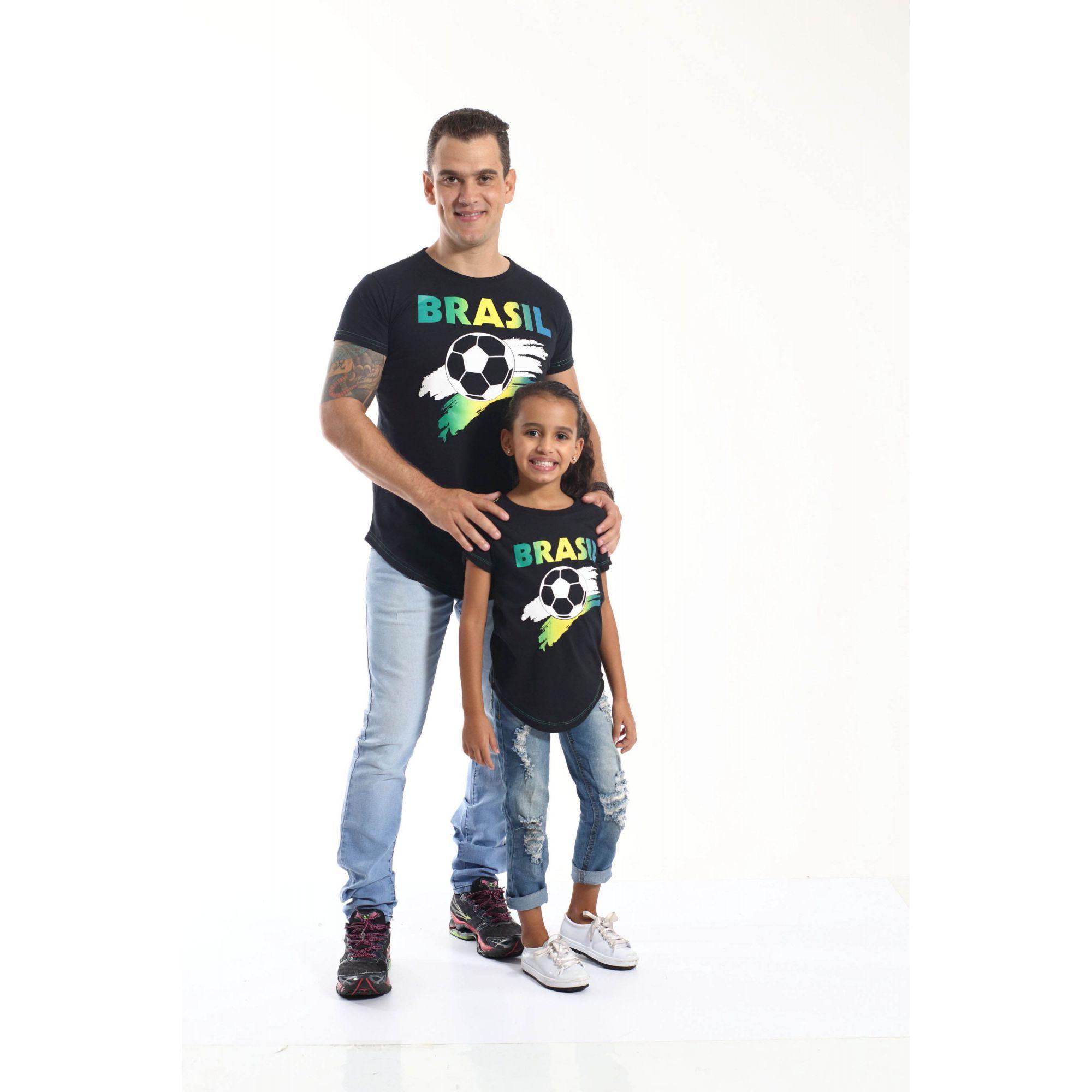PAI E FILHA > Kit 02 Camisetas Long Pretas Brasil [Coleção Tal Pai Tal Filha]