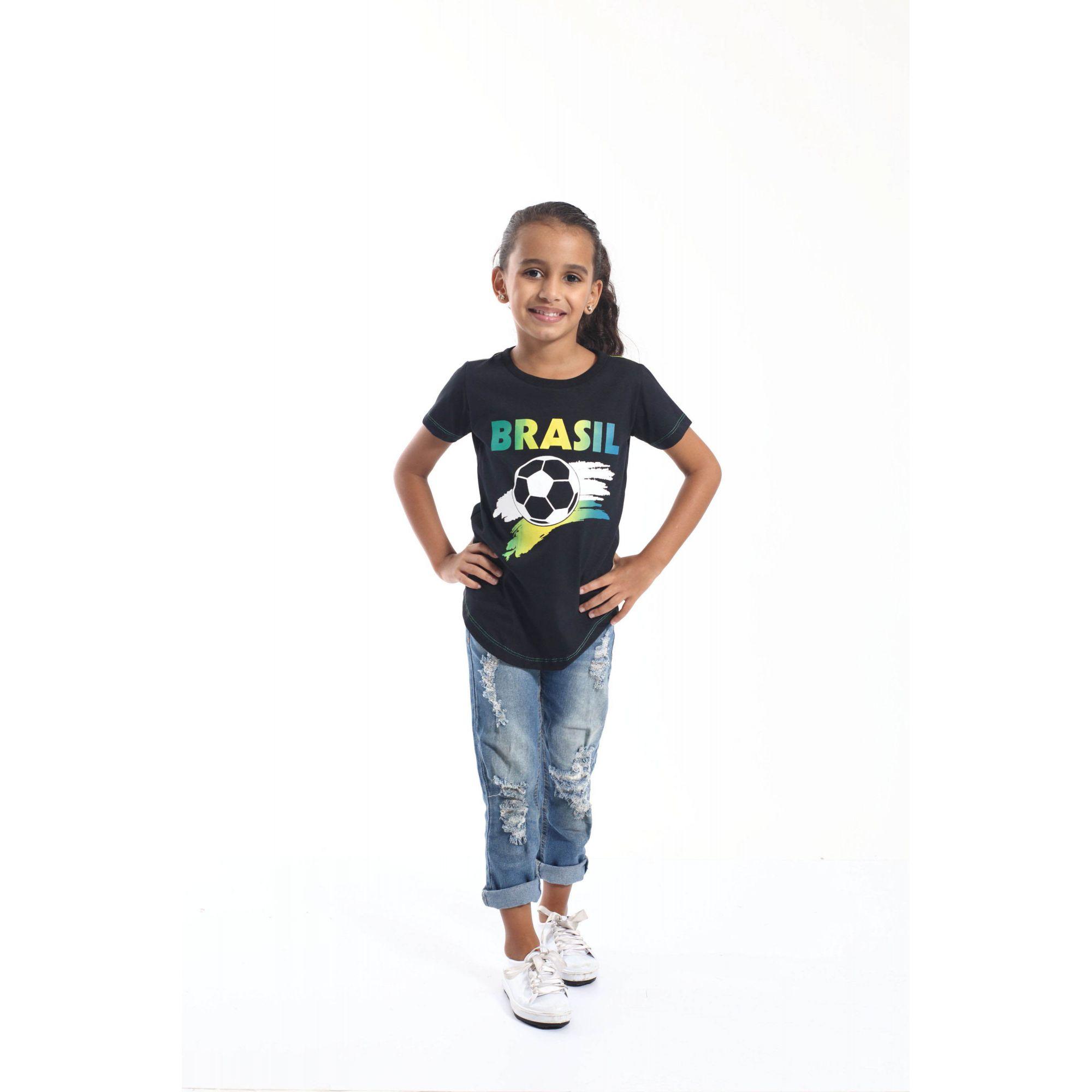 PAI E FILHA > Kit 02 Camisetas Long Pretas Brasil [Coleção Tal Pai Tal Filha]  - Heitor Fashion Brazil