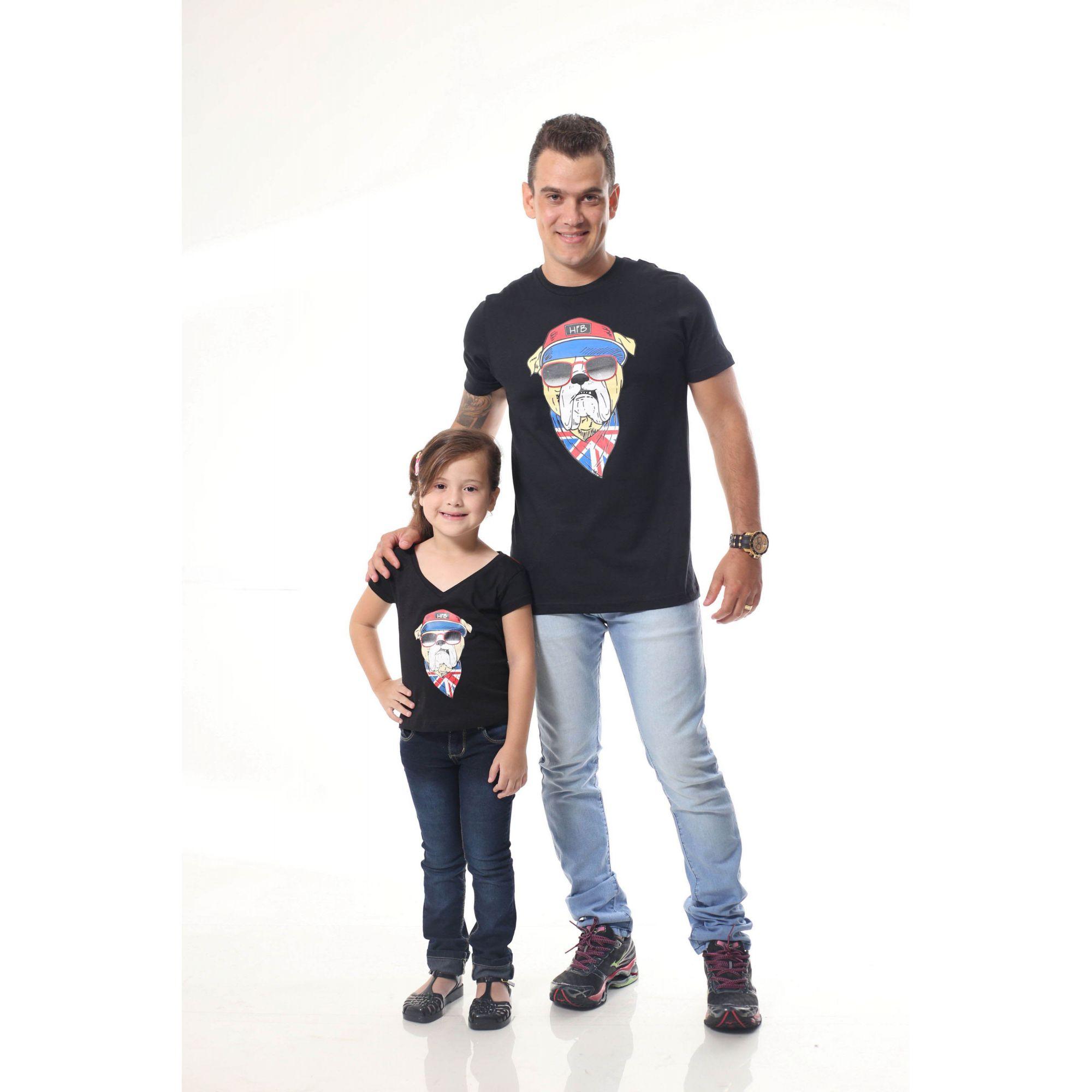 PAI E FILHA > Kit 02 Camisetas Pretas Estampa de Cachorro Bulldog Inglês [Coleção Tal Pai Tal Filho]