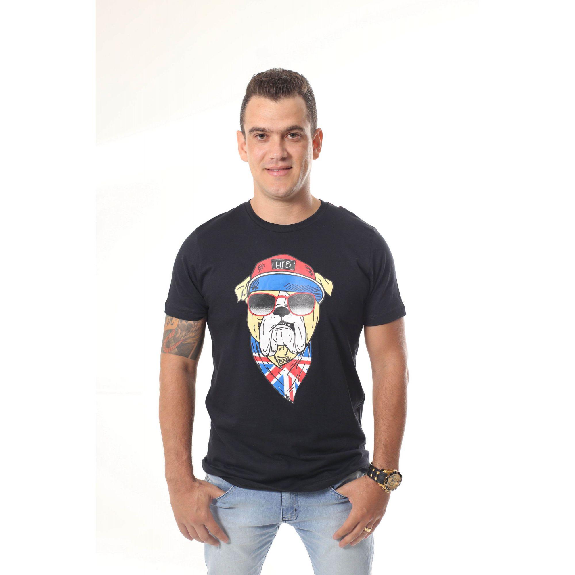 PAI E FILHA > Kit 02 Camisetas Pretas Estampa de Cachorro Bulldog Inglês [Coleção Tal Pai Tal Filho]  - Heitor Fashion Brazil