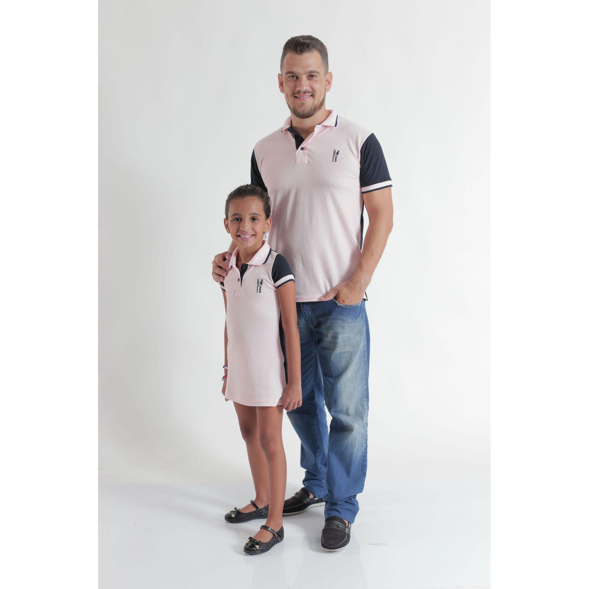 PAI E FILHA > Kit 02 Peças Camisa e Vestido ou Body Polo Rosa com Azul  [Coleção Tal Pai Tal Filha]
