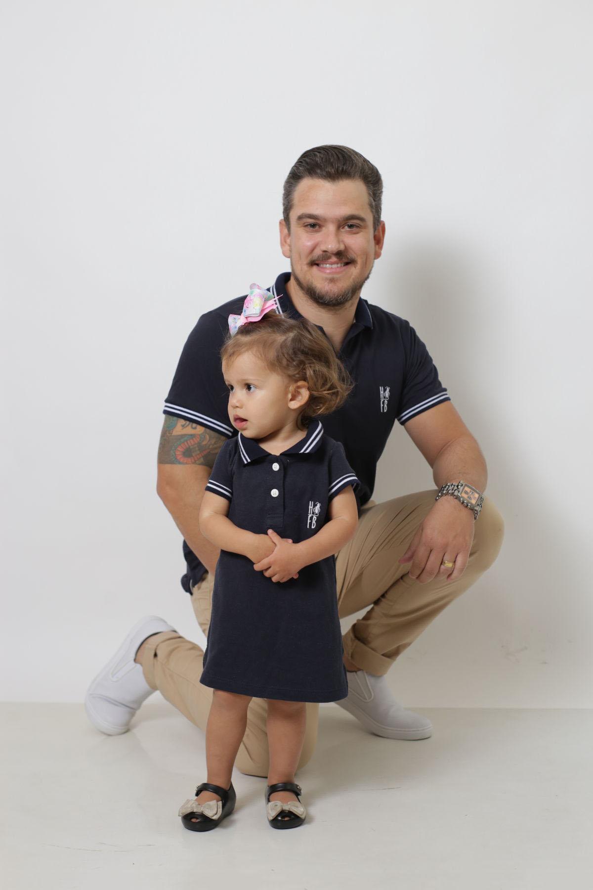 PAI E FILHA > Kit 02 Peças Camisa e Vestido Polo Azul Marinho Céu  [Coleção Tal Pai Tal Filha]