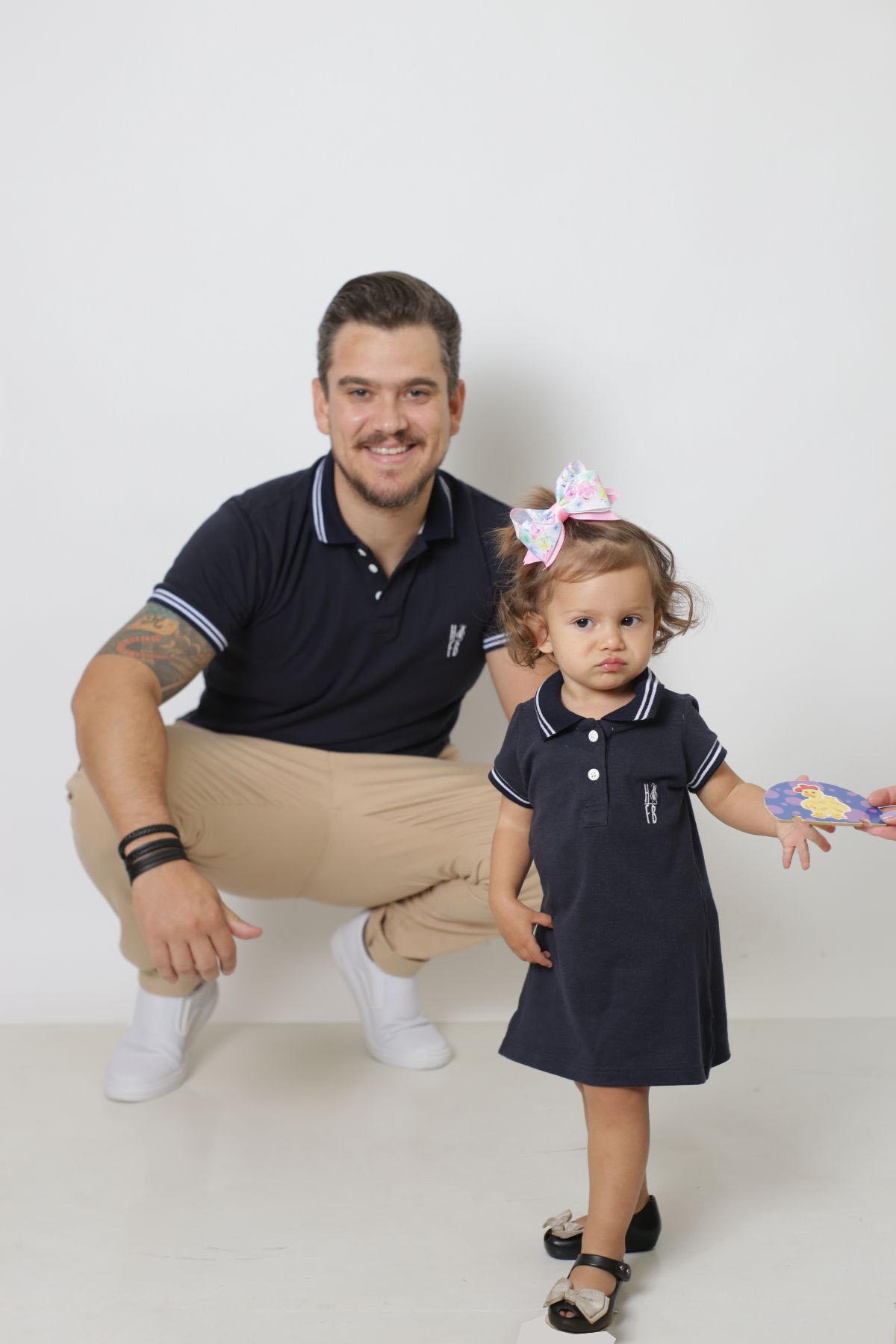 PAI E FILHA > Kit 02 Peças Camisa e Vestido Polo Azul Marinho Céu  [Coleção Tal Pai Tal Filha]  - Heitor Fashion Brazil