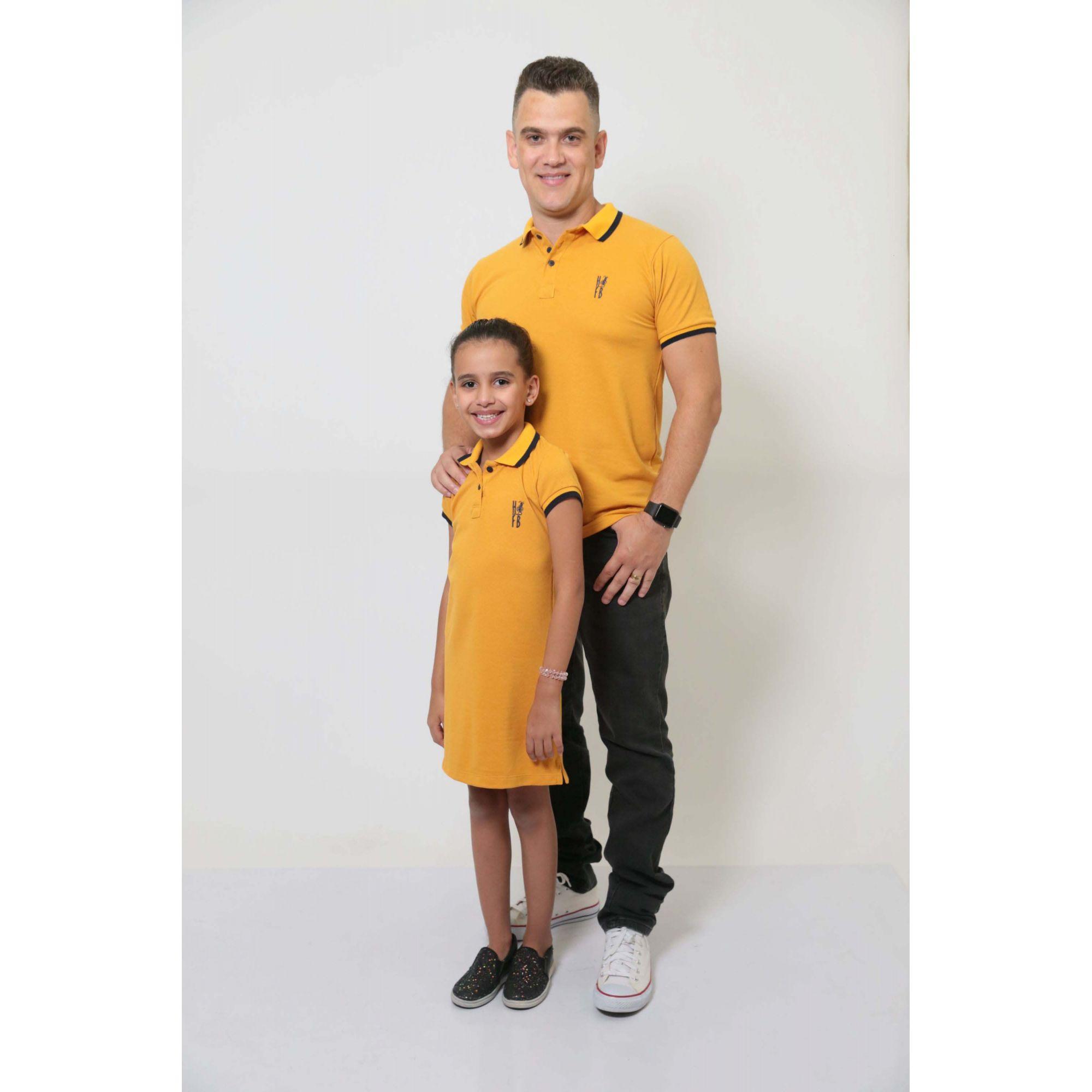 PAI E FILHA > Kit Camisa + Vestido Polo Mostarda [Coleção Tal Pai Tal Filha]