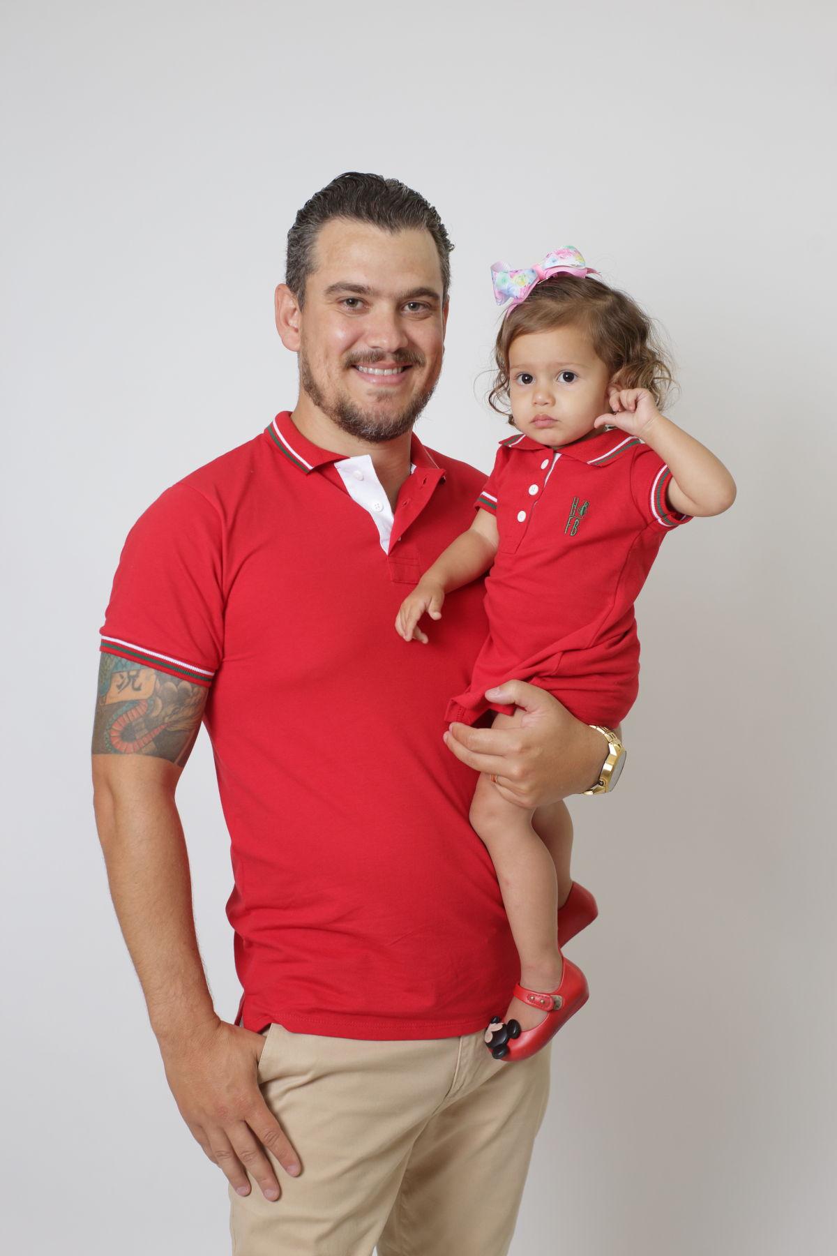 PAI E FILHA > Kit 02 Peças Camisa e Vestido Polo Vermelho PREMIUM